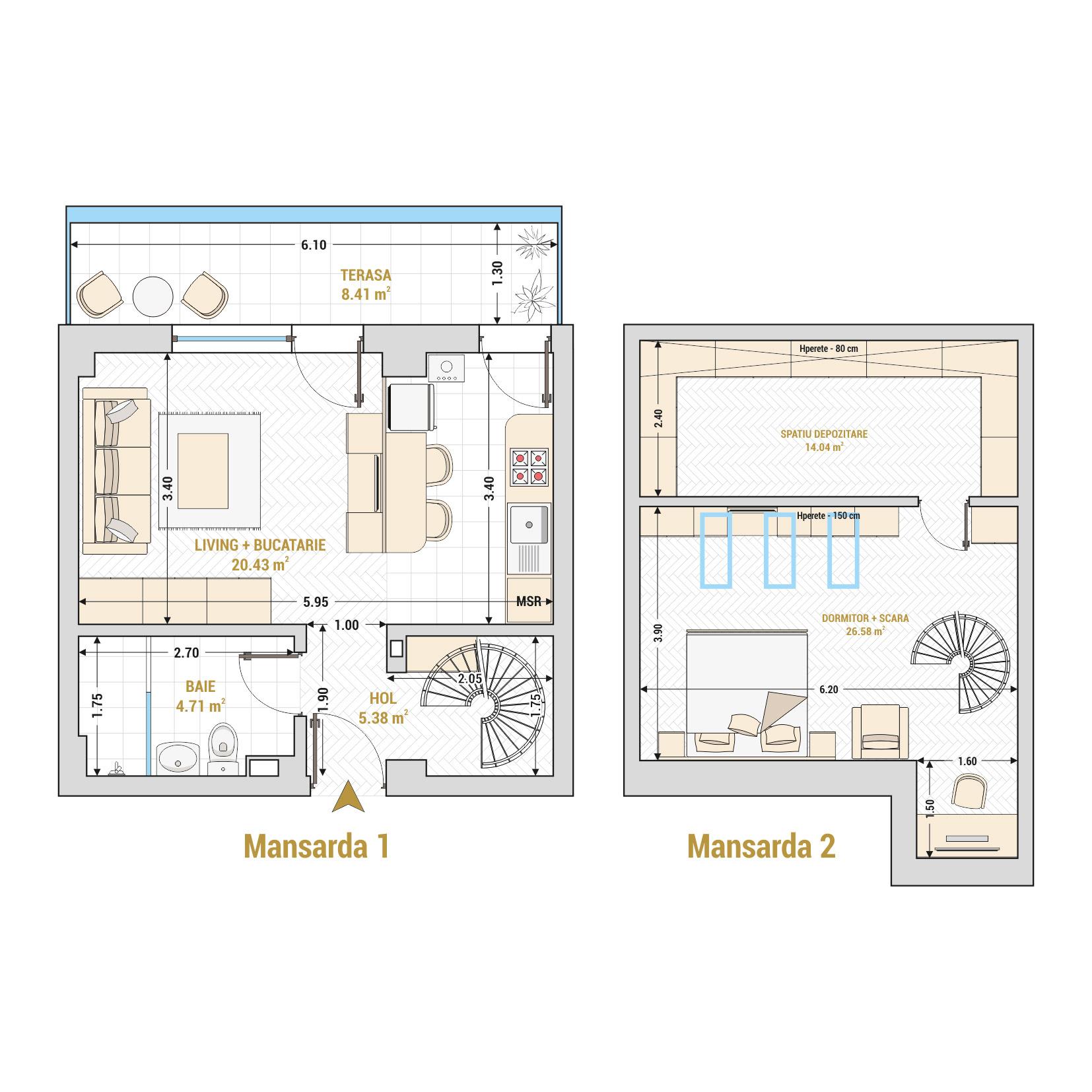 Duplex cu 2 camere de vanzare Bucuresti - Catedral Residence - Marriott, Piata Unirii, 13 Septembrie, Izvor - Tip 1 - T1A