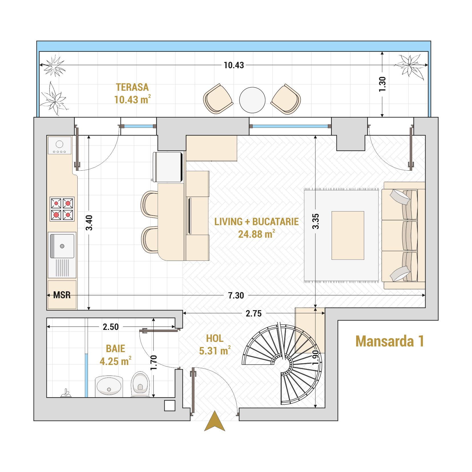 Duplex cu 2 camere de vanzare Bucuresti - Catedral Residence - Marriott, Piata Unirii, 13 Septembrie, Izvor - Tip 2 - T1A - A