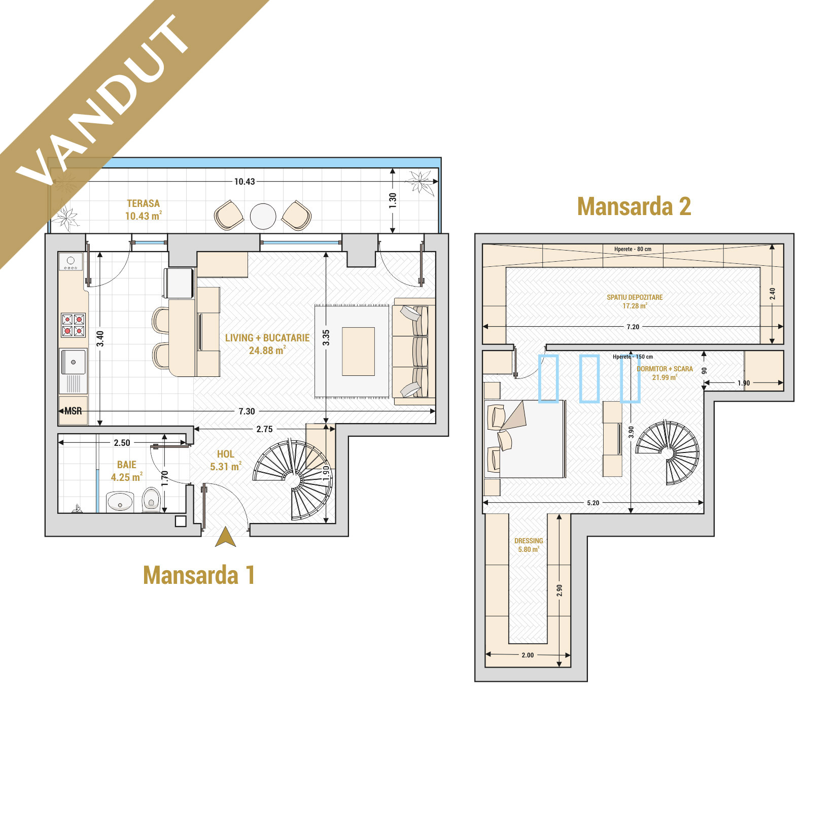 Duplex cu 2 camere de vanzare Bucuresti - Catedral Residence - Marriott, Piata Unirii, 13 Septembrie, Izvor - Tip 2 - T1A - S