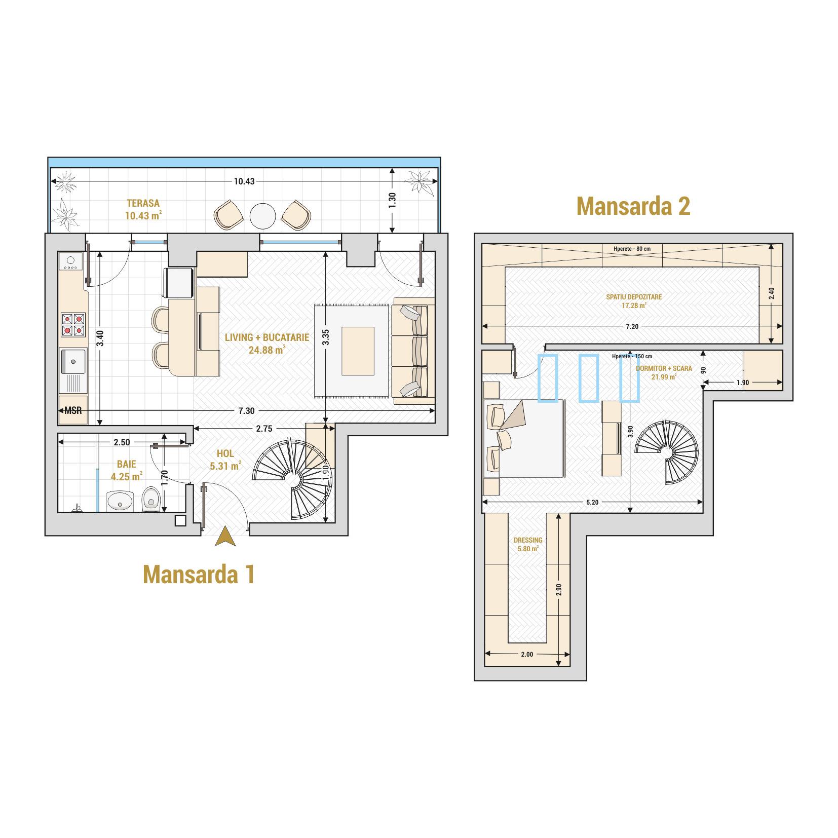 Duplex cu 2 camere de vanzare Bucuresti - Catedral Residence - Marriott, Piata Unirii, 13 Septembrie, Izvor - Tip 2 - T1A