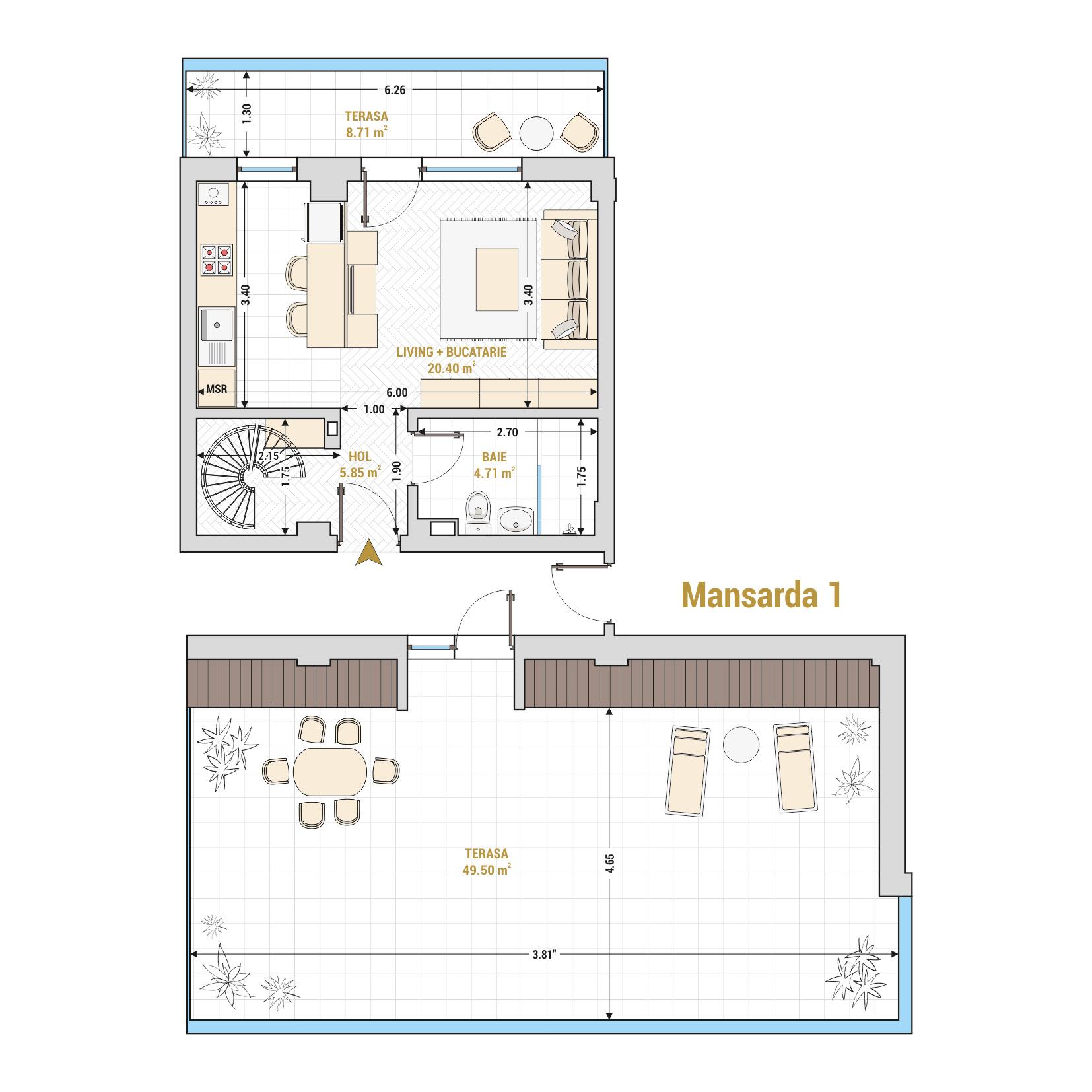 Duplex cu 2 camere de vanzare Bucuresti - Catedral Residence - Marriott, Piata Unirii, 13 Septembrie, Izvor - Tip 3 - T1A - A