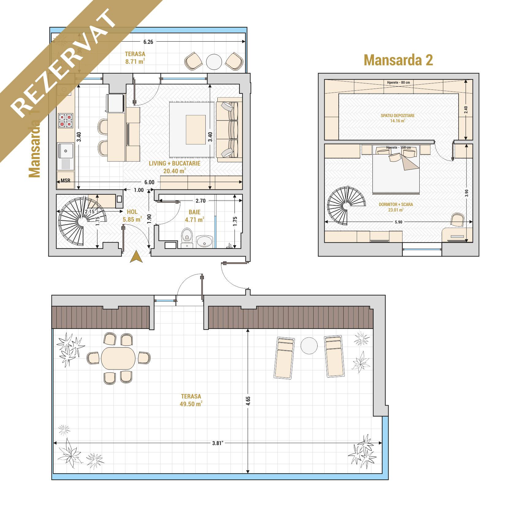 Duplex cu 2 camere de vanzare Bucuresti - Catedral Residence - Marriott, Piata Unirii, 13 Septembrie, Izvor - Tip 3 - T1A - R