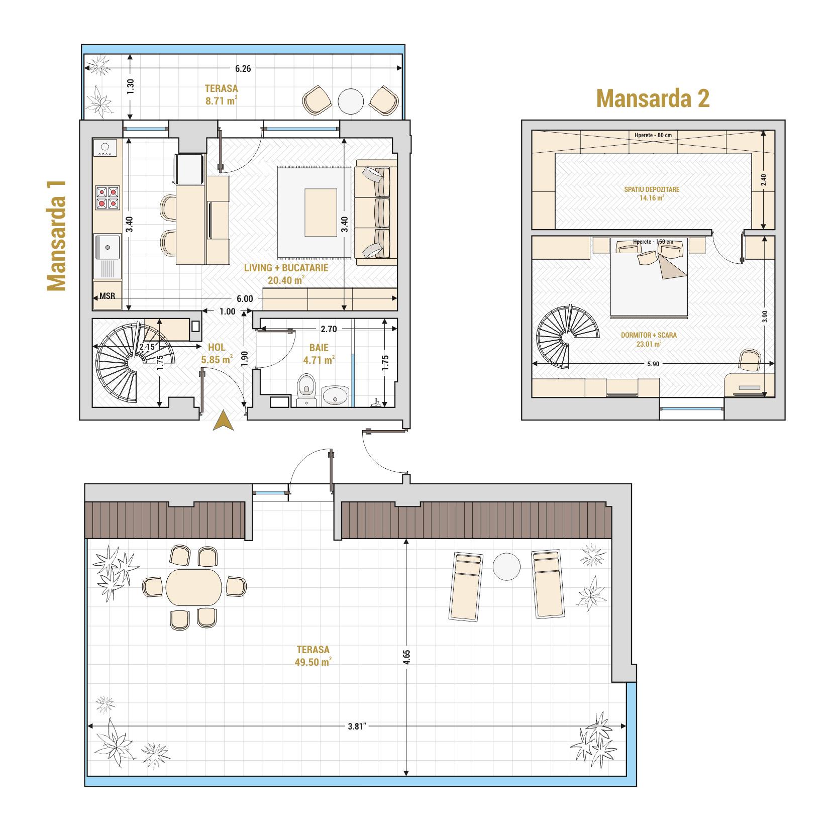 Duplex cu 2 camere de vanzare Bucuresti - Catedral Residence - Marriott, Piata Unirii, 13 Septembrie, Izvor - Tip 3 - T1A