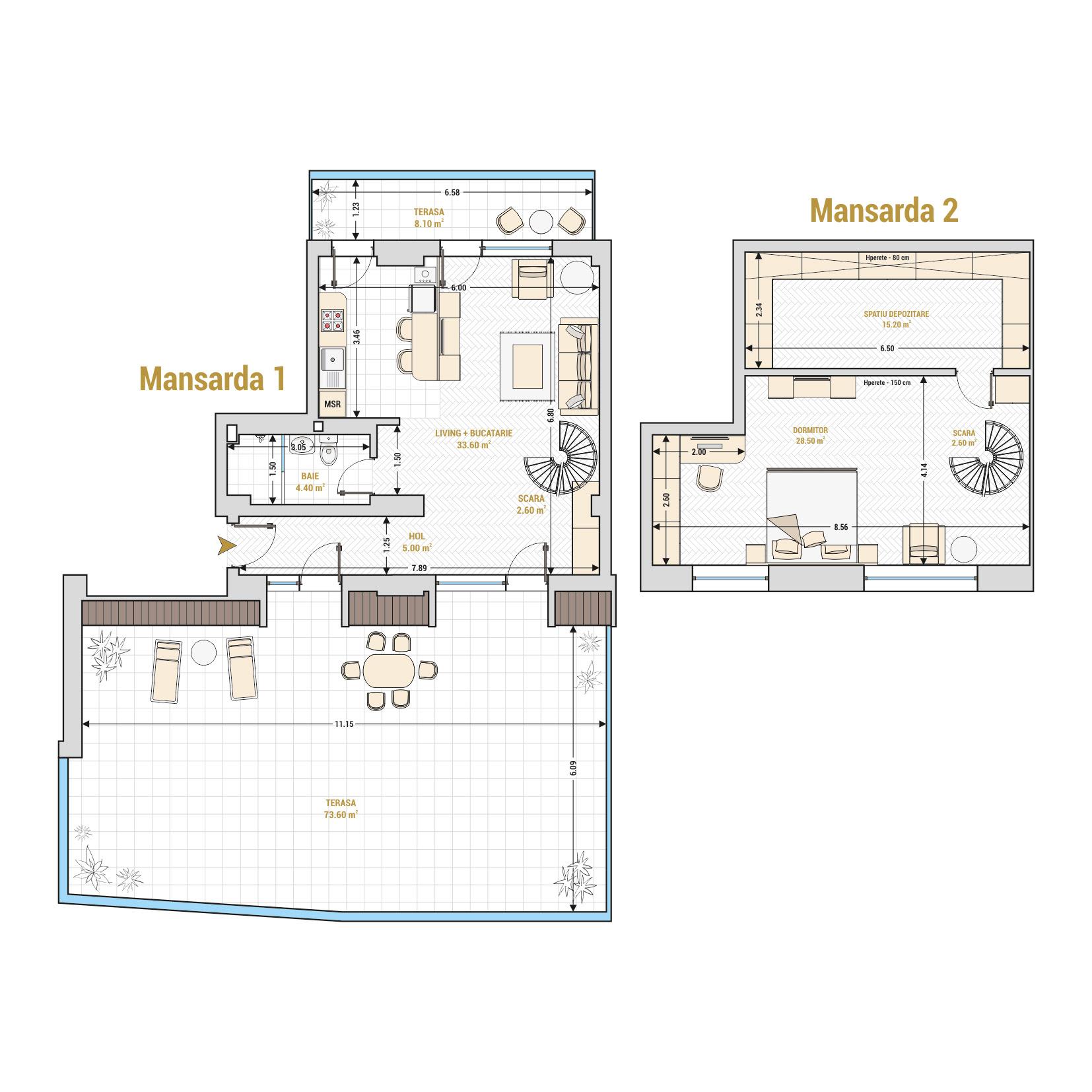 Duplex cu 2 camere Bucuresti - Catedral Residence - Marriott, Piata Unirii, 13 Septembrie, Izvor - Suprafata utila totala - 173.60 m² metri patrati