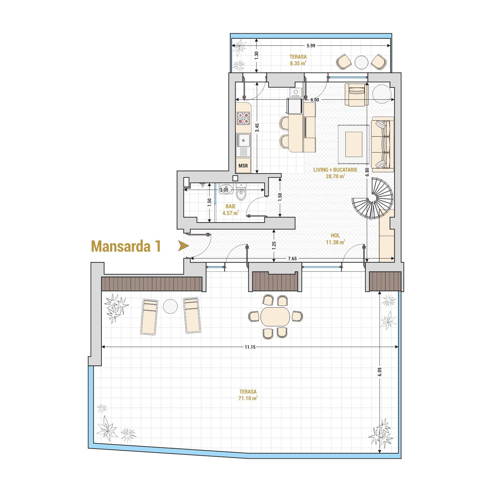 Duplex cu 2 camere de vanzare Bucuresti - Catedral Residence - Marriott, Piata Unirii, 13 Septembrie, Izvor - Tip 4 - T1A - A
