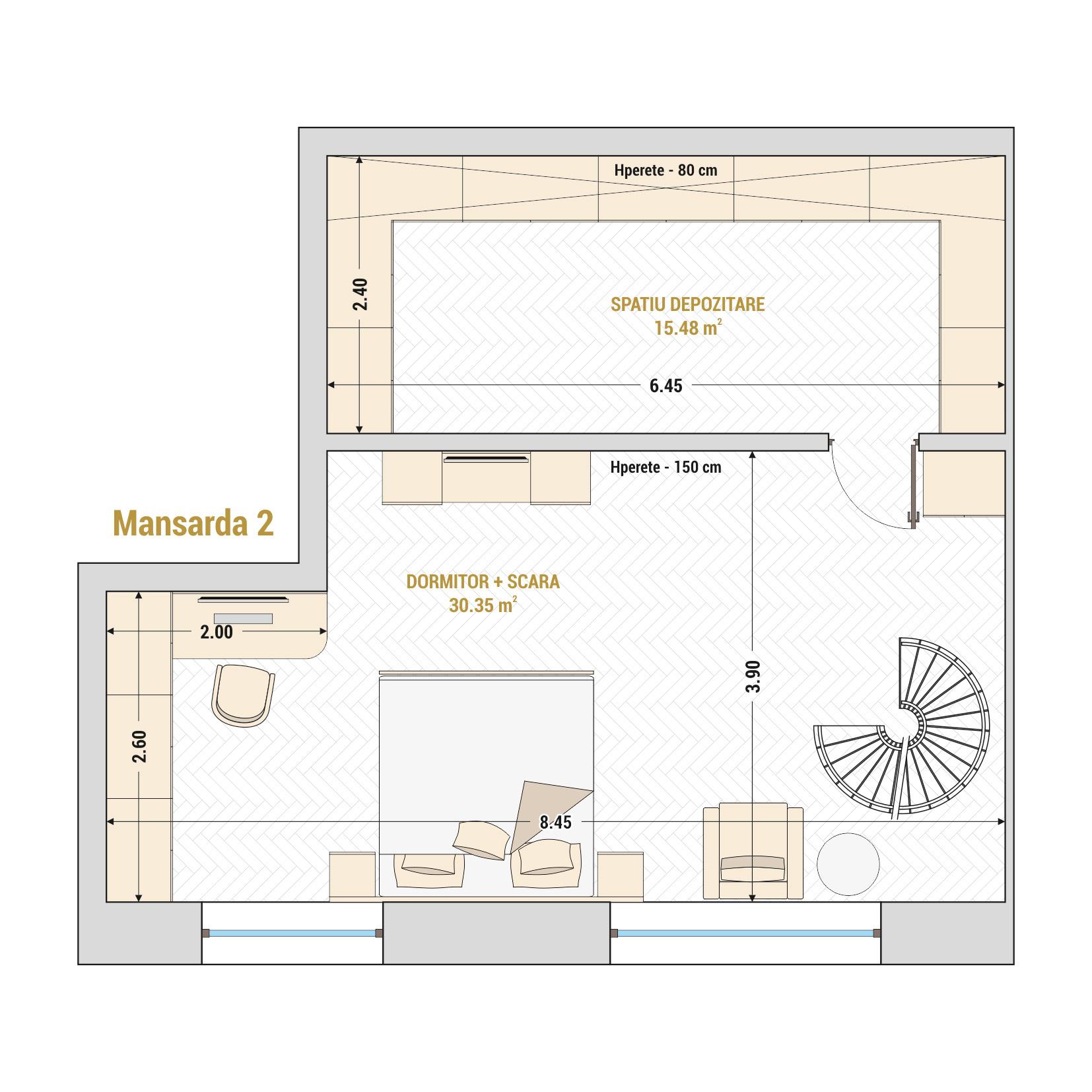 Duplex cu 2 camere de vanzare Bucuresti - Catedral Residence - Marriott, Piata Unirii, 13 Septembrie, Izvor - Tip 4 - T1A - B