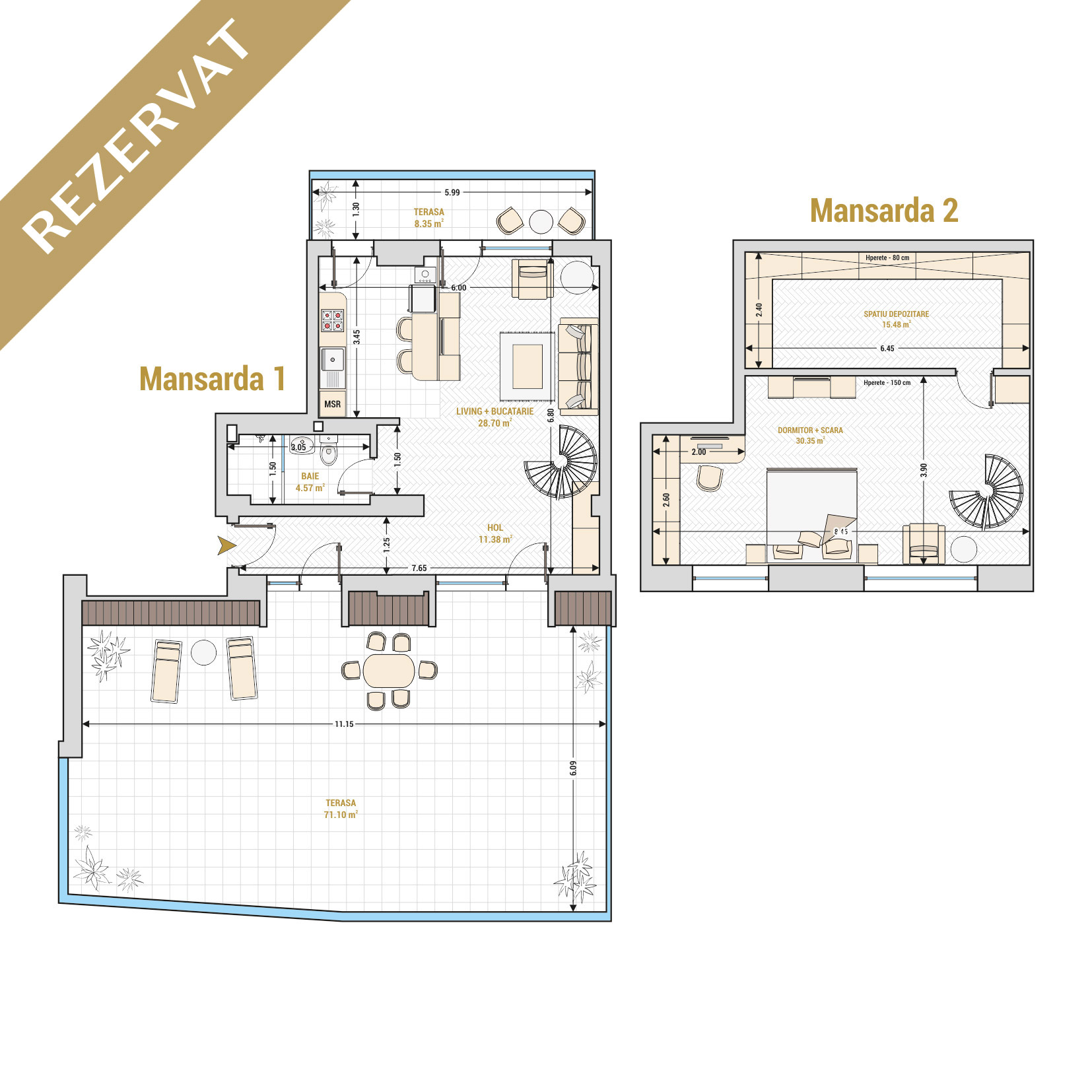 Duplex cu 2 camere de vanzare Bucuresti - Catedral Residence - Marriott, Piata Unirii, 13 Septembrie, Izvor - Tip 4 - T1A - R