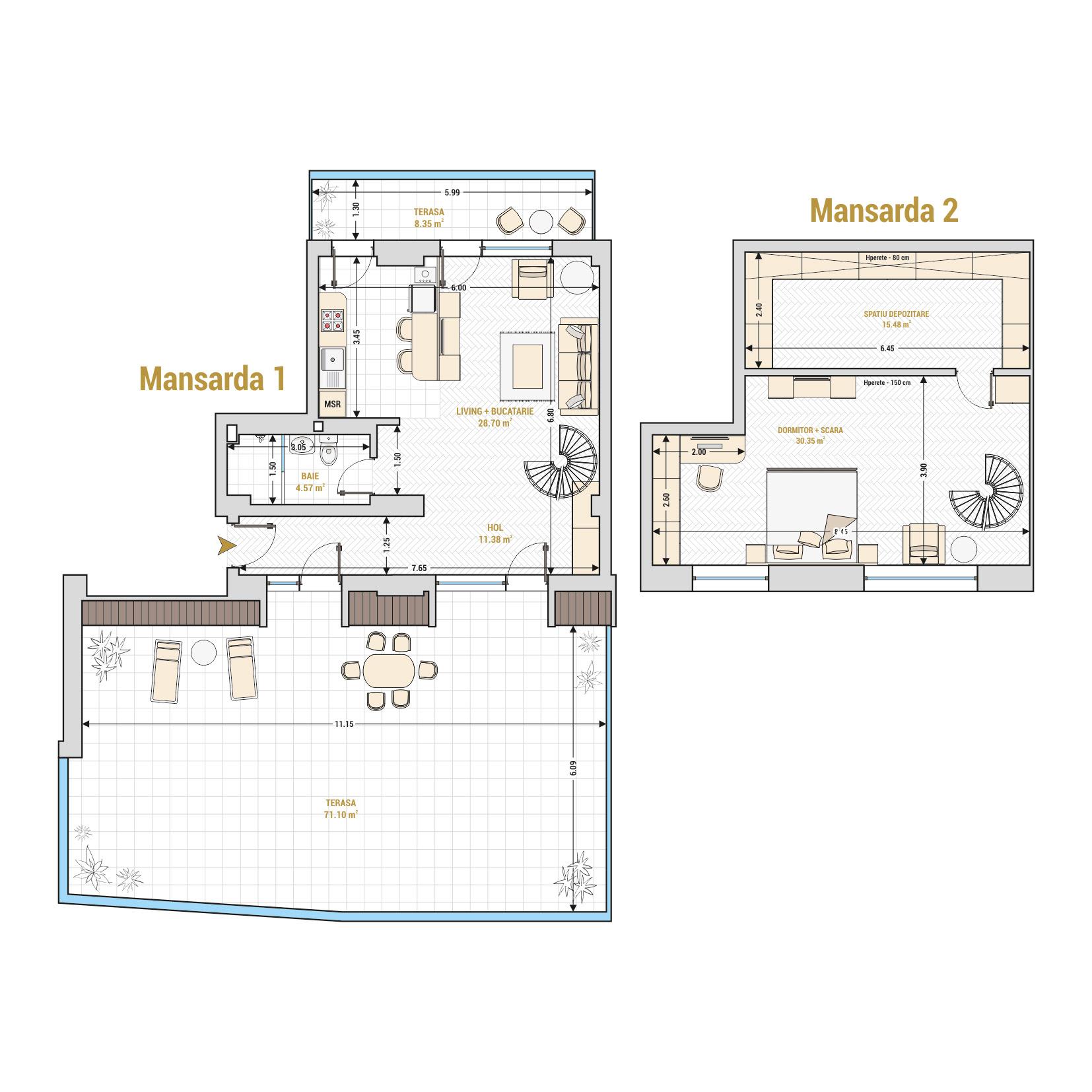 Duplex cu 2 camere de vanzare Bucuresti - Catedral Residence - Marriott, Piata Unirii, 13 Septembrie, Izvor - Tip 4 - T1A