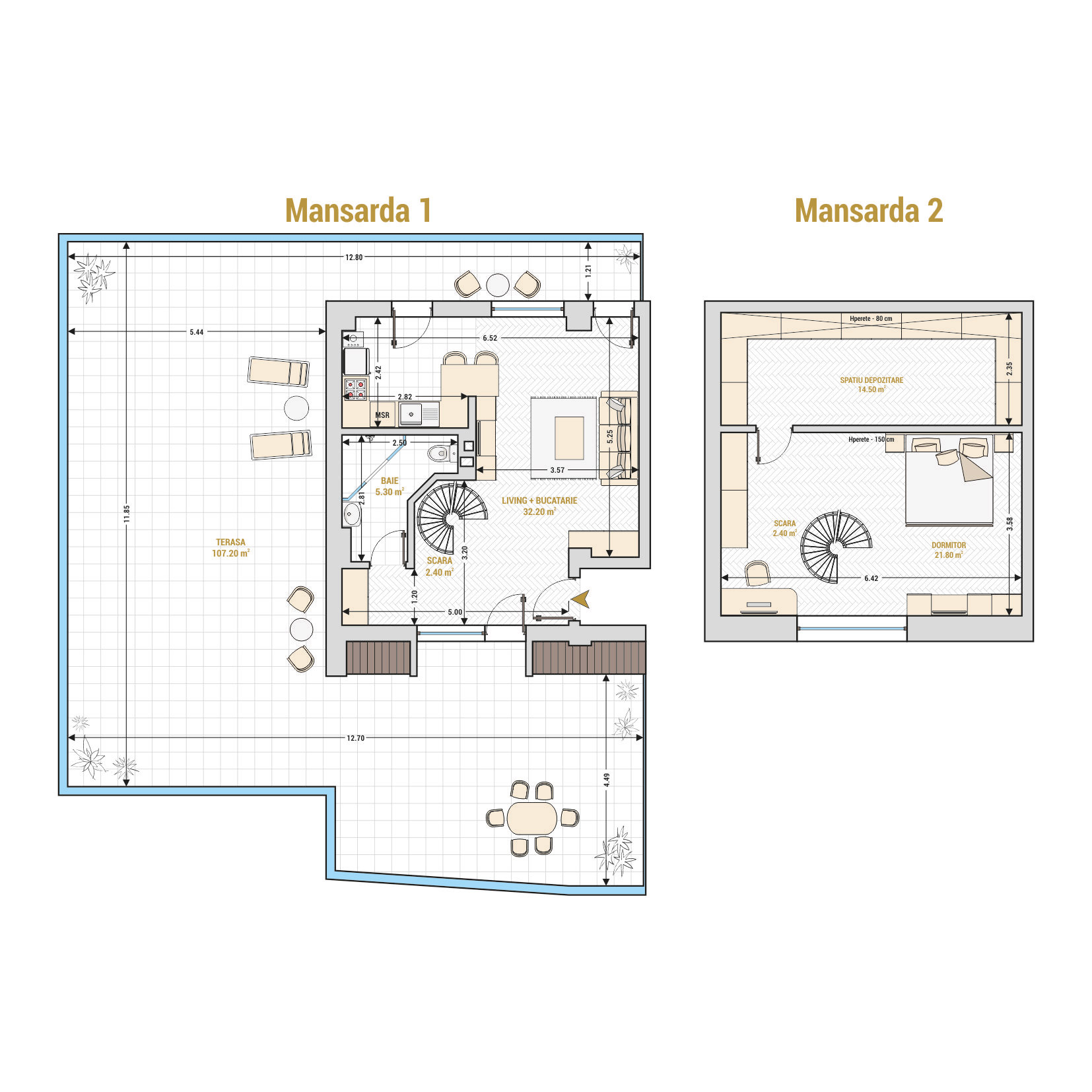 Duplex cu 2 camere de vanzare Bucuresti - Catedral Residence - Marriott, Piata Unirii, 13 Septembrie, Izvor - Tip 5 - T1A
