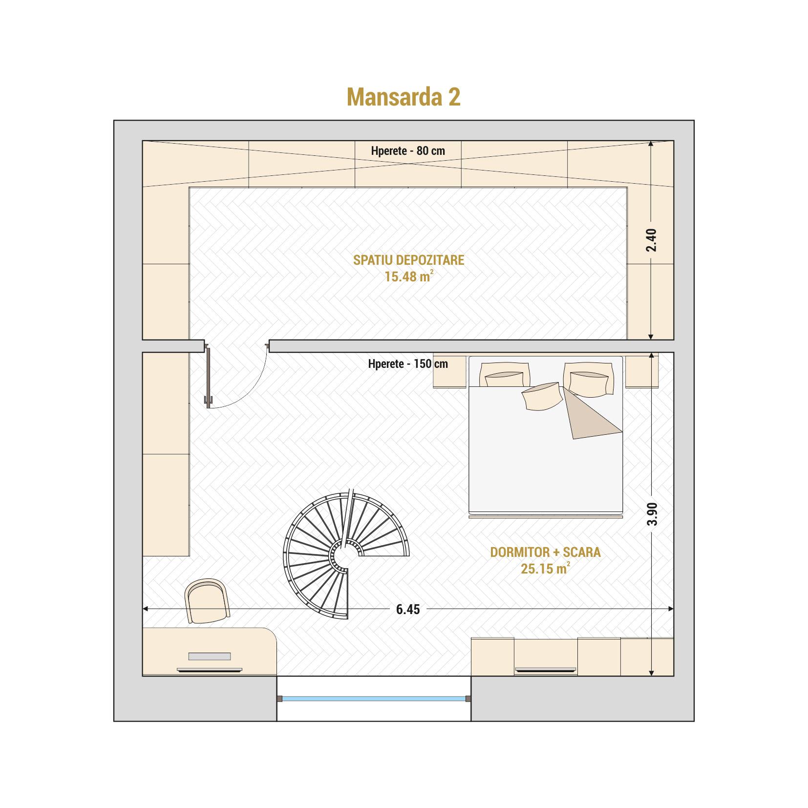 Duplex cu 2 camere de vanzare Bucuresti - Catedral Residence - Marriott, Piata Unirii, 13 Septembrie, Izvor - Tip 5 - T1A - B