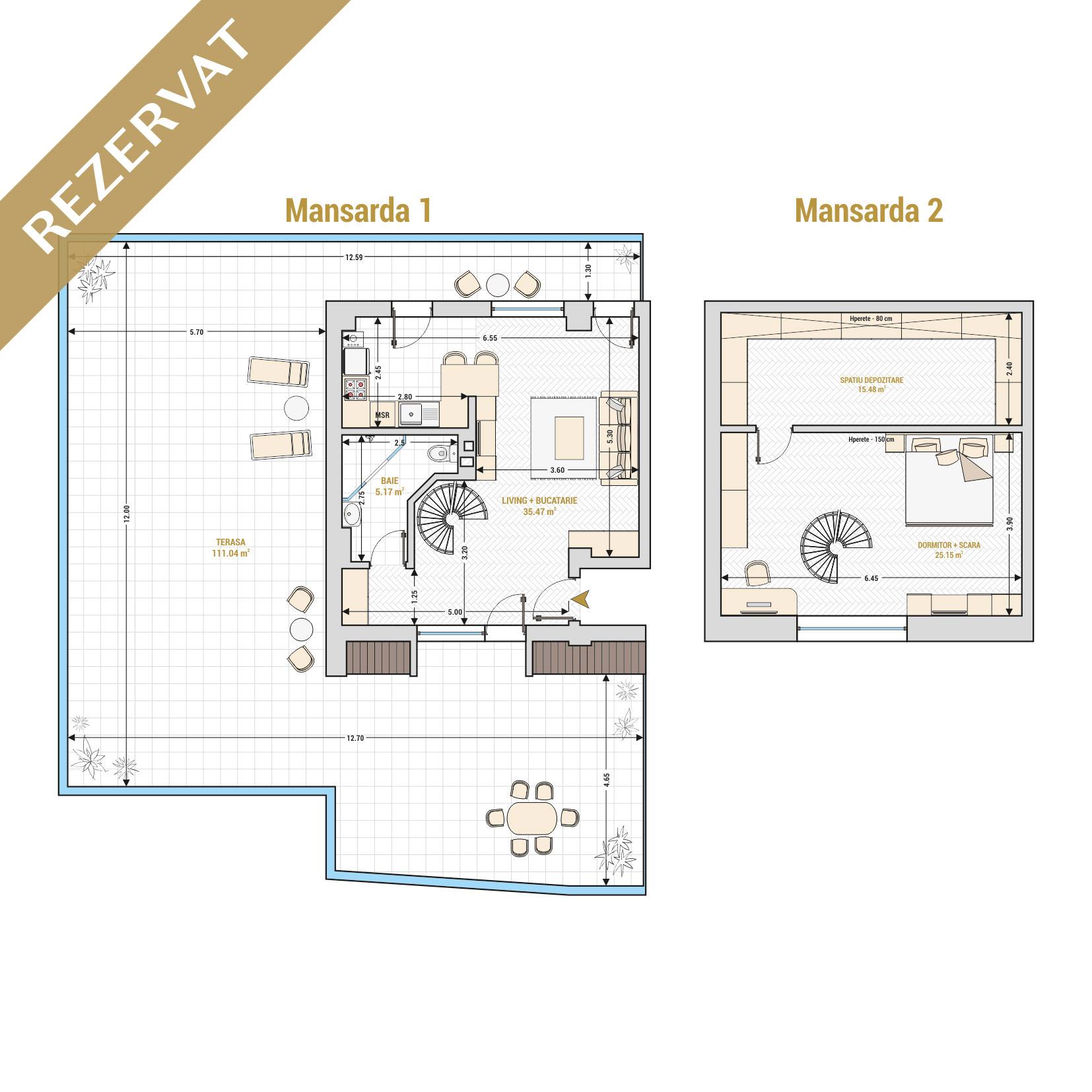 Duplex cu 2 camere de vanzare Bucuresti - Catedral Residence - Marriott, Piata Unirii, 13 Septembrie, Izvor - Tip 5 - T1A - R