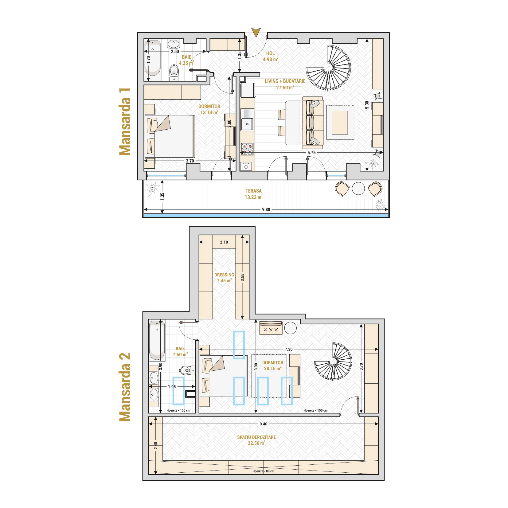 Duplex 3 camere de vanzare Bucuresti - Catedral Residence - Marriott, Piata Unirii, 13 Septembrie, Izvor - T2