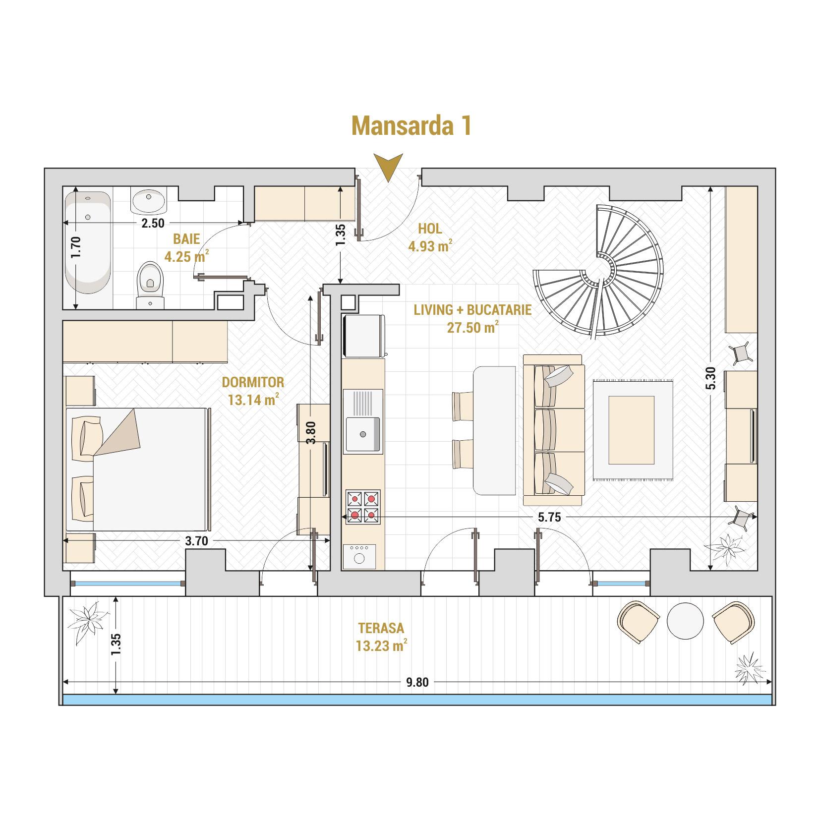 Duplex 3 camere de vanzare Bucuresti - Catedral Residence - Marriott, Piata Unirii, 13 Septembrie, Izvor - T2 - A