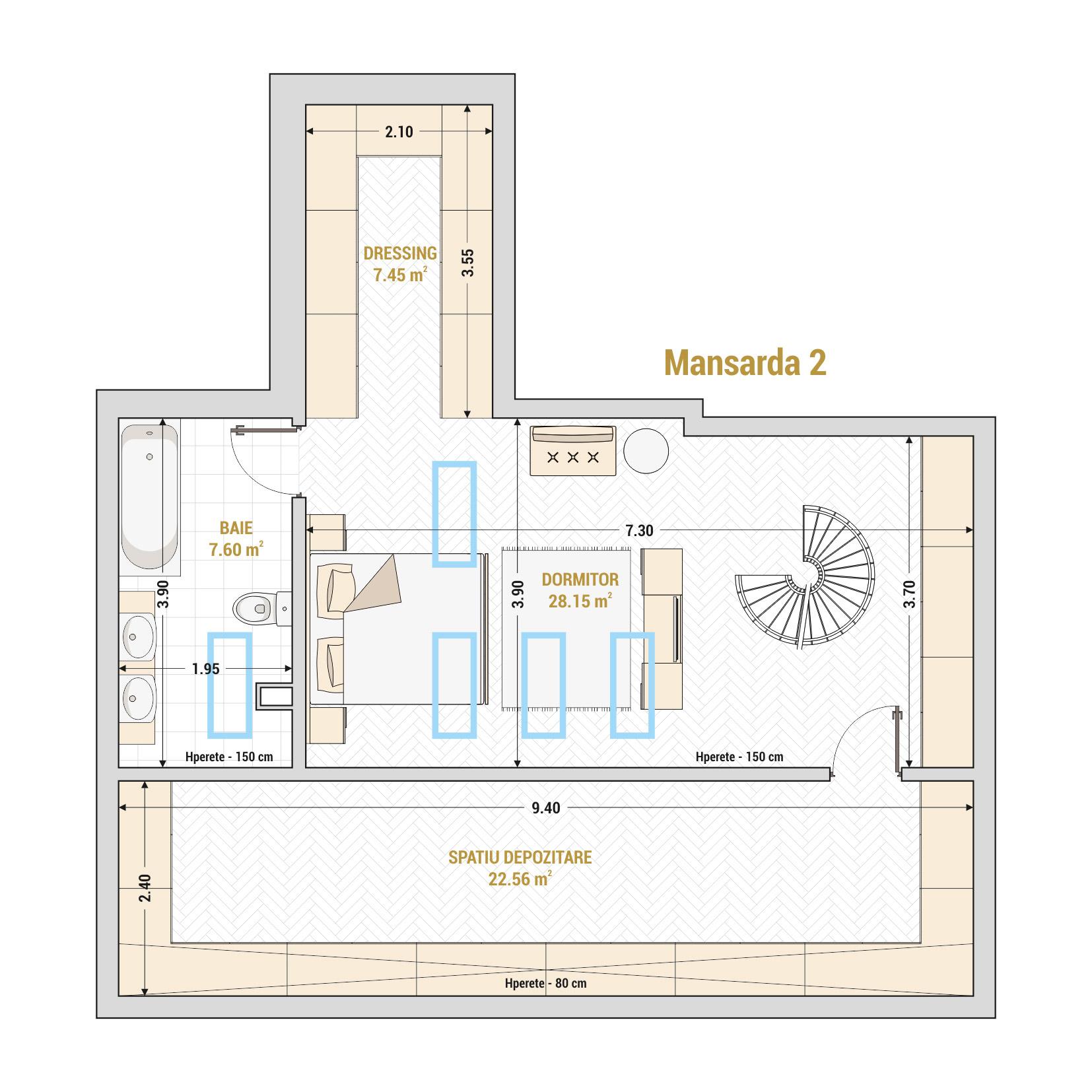 Duplex 3 camere de vanzare Bucuresti - Catedral Residence - Marriott, Piata Unirii, 13 Septembrie, Izvor - T2 - B