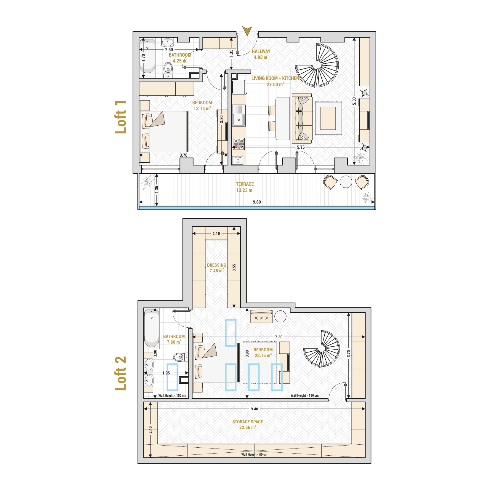 Catedral Residence - 3 Room Duplex Apartment for Sale - Bucharest - Romania - Type 1 – S2