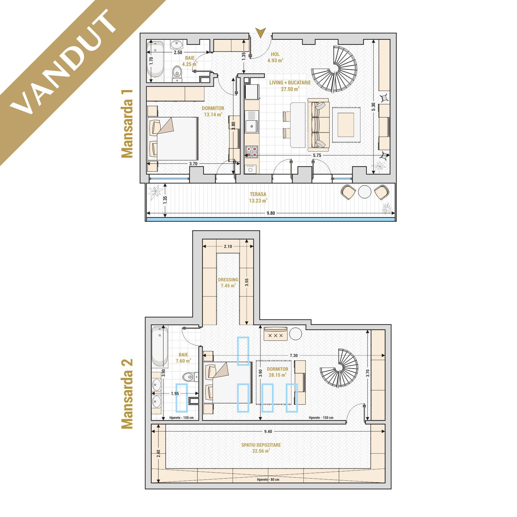 Duplex 3 camere de vanzare Bucuresti - Catedral Residence - Marriott, Piata Unirii, 13 Septembrie, Izvor - T2 - V