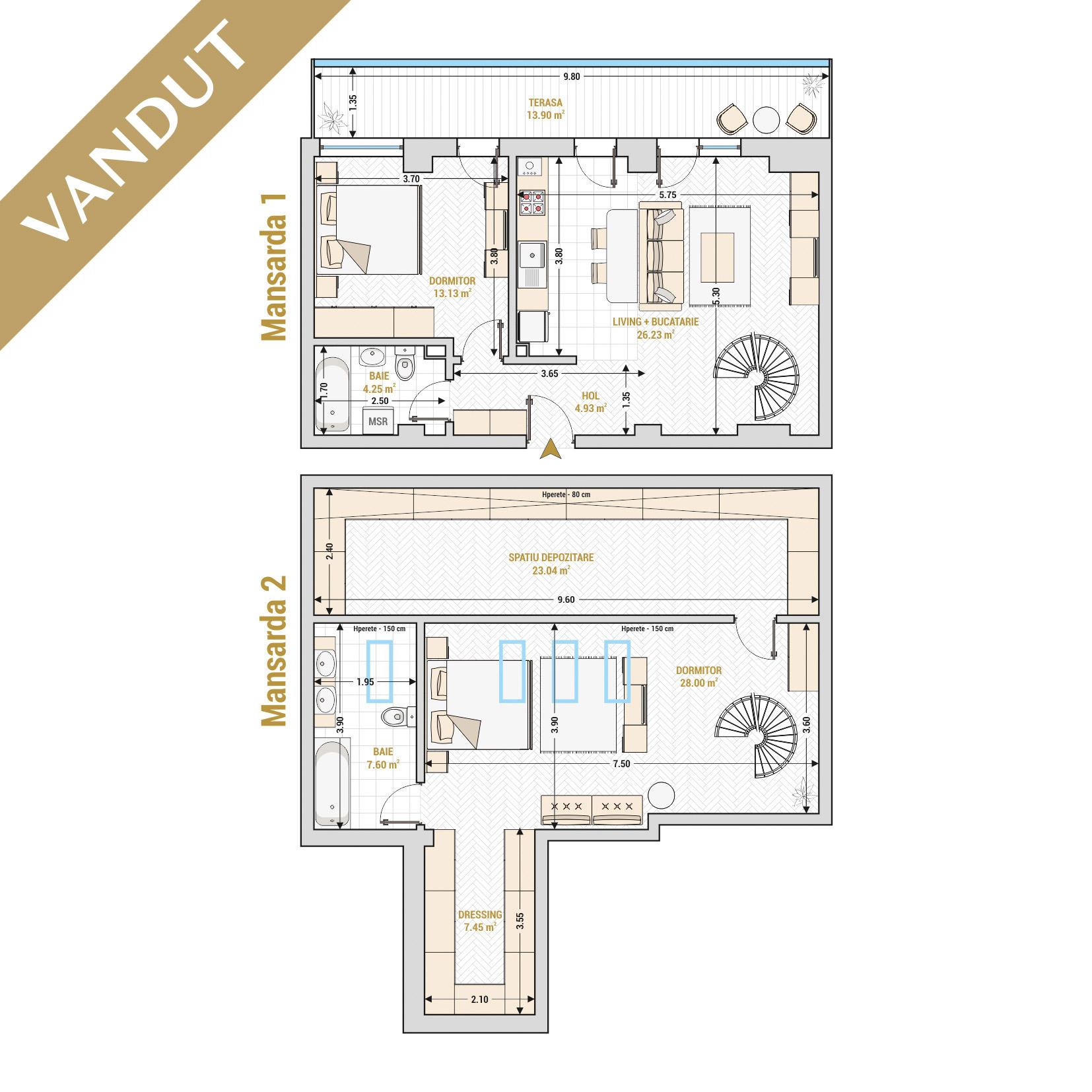 Duplex 3 camere de vanzare Bucuresti - Catedral Residence - Marriott, Piata Unirii, 13 Septembrie, Izvor - T2A - V