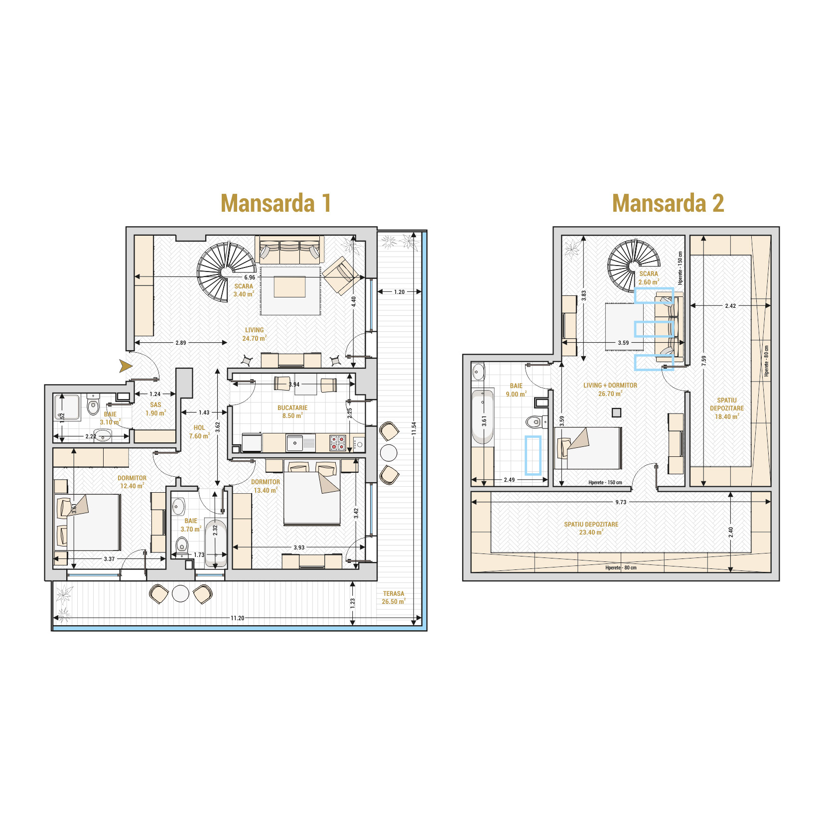 Duplexuri cu 4 camere Bucuresti - Catedral Residence - Marriott, Piata Unirii, 13 Septembrie, Izvor - Suprafata utila totala - 185.30 mp