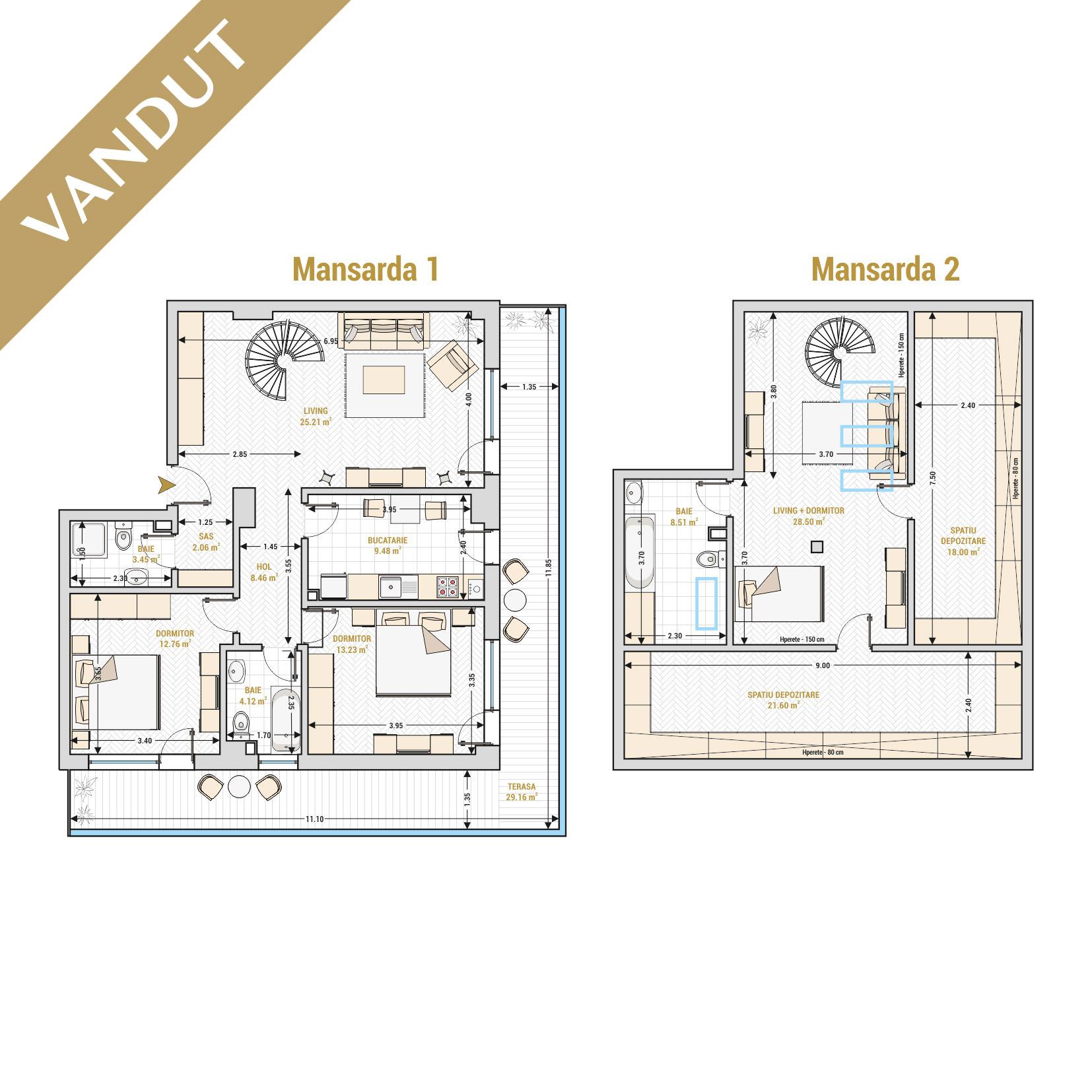 Duplex 4 camere de vanzare Bucuresti - Catedral Residence - Marriott, Piata Unirii, 13 Septembrie, Izvor - T2 - V