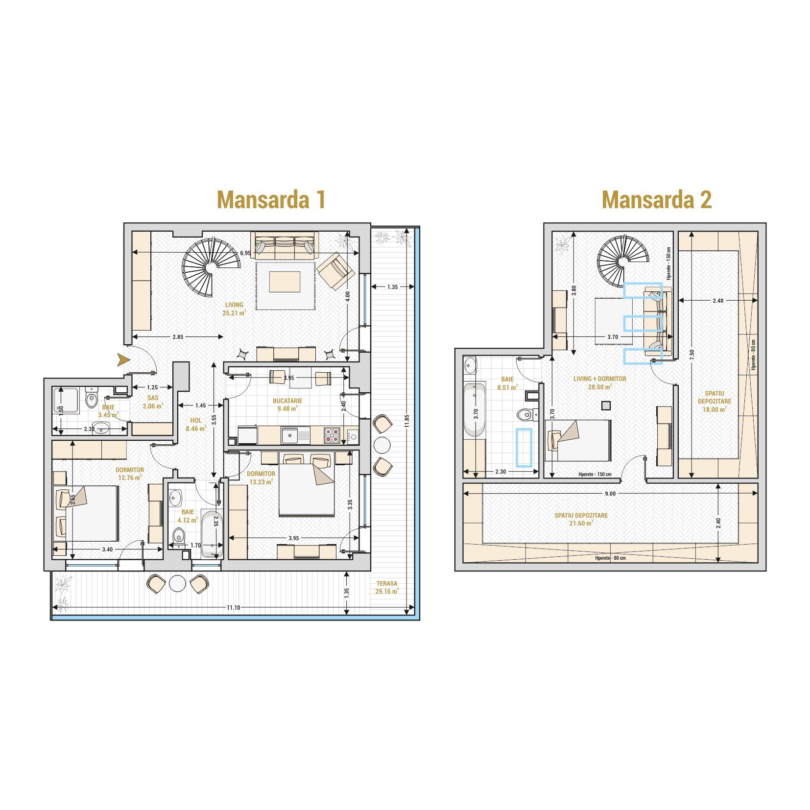 Duplex 4 camere de vanzare Bucuresti - Catedral Residence - Marriott, Piata Unirii, 13 Septembrie, Izvor - T2
