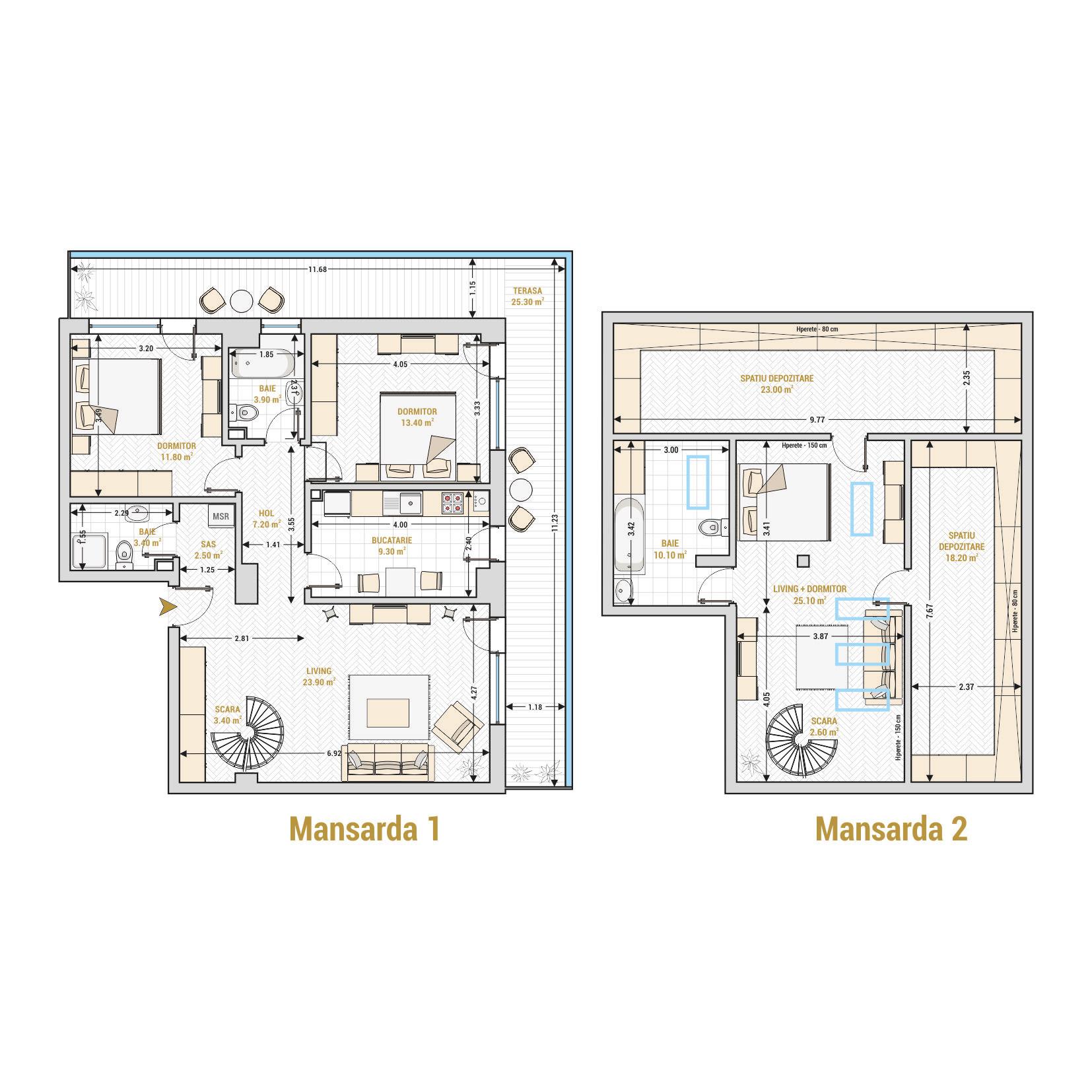 Duplexuri cu 4 camere Bucuresti - Catedral Residence - Marriott, Piata Unirii, 13 Septembrie, Izvor - Suprafata utila totala - 183.10 metri patrati