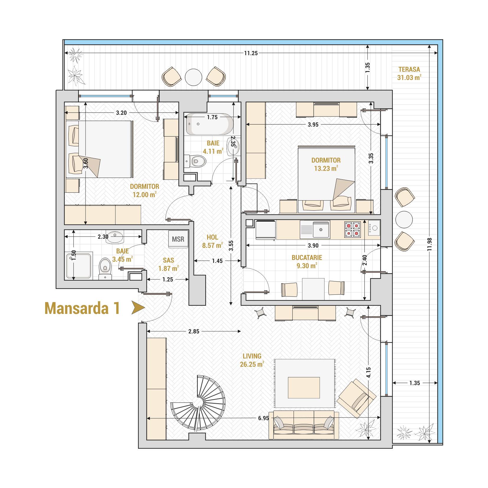 Duplex 4 camere de vanzare Bucuresti - Catedral Residence - Marriott, Piata Unirii, 13 Septembrie, Izvor - T2A - A