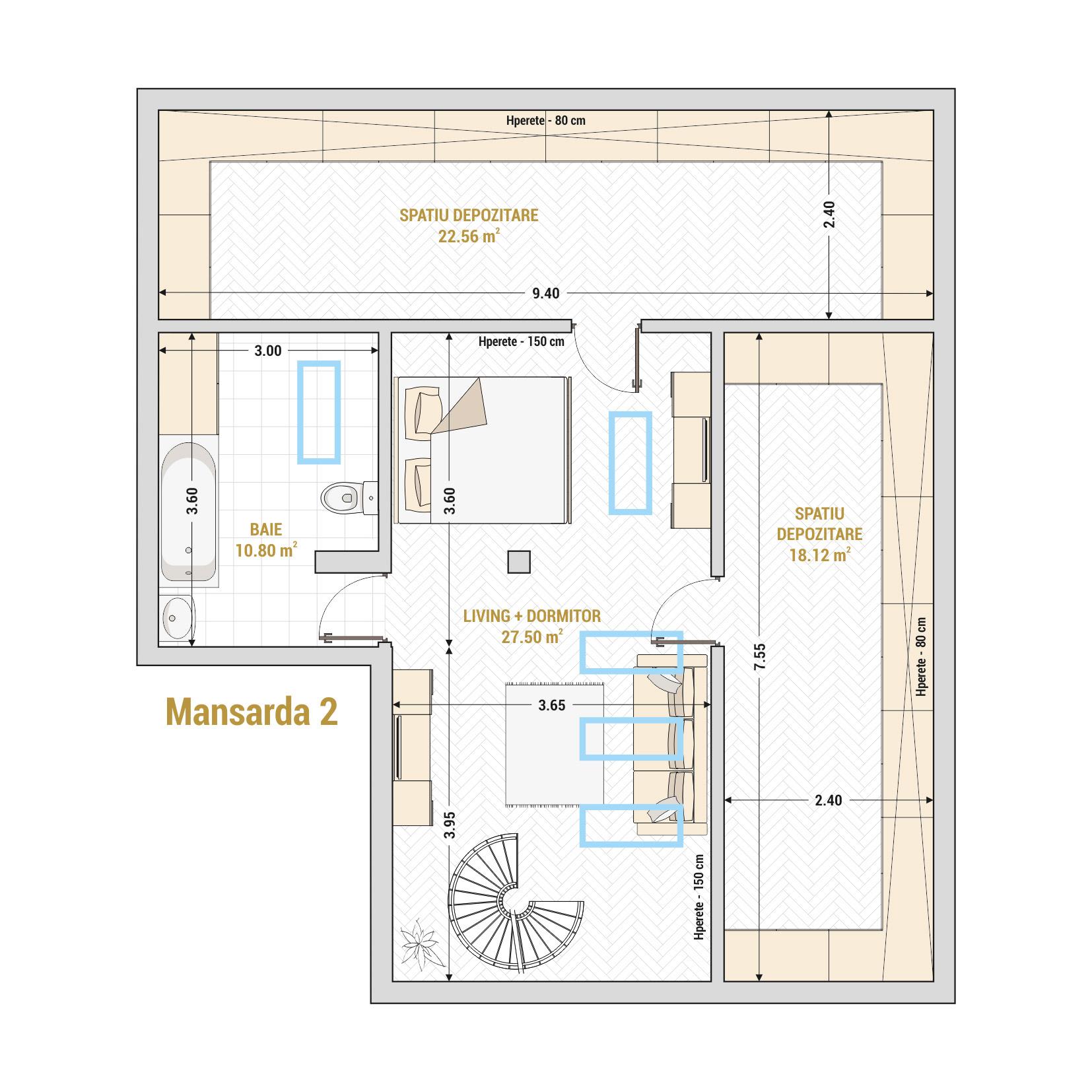 Duplex 4 camere de vanzare Bucuresti - Catedral Residence - Marriott, Piata Unirii, 13 Septembrie, Izvor - T2A - B