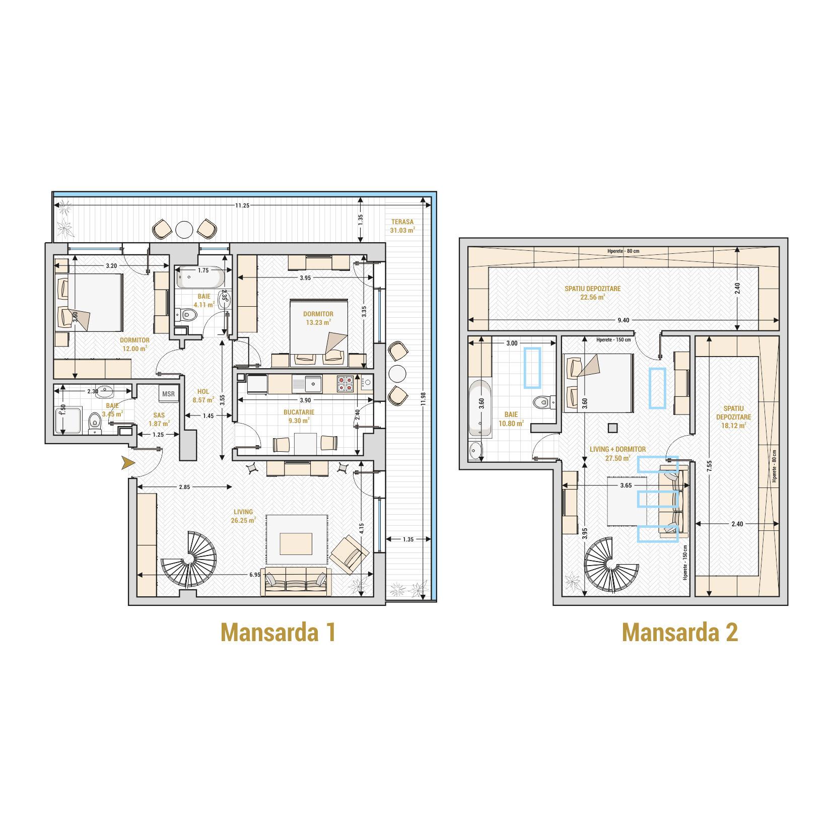 Duplex 4 camere de vanzare Bucuresti - Catedral Residence - Marriott, Piata Unirii, 13 Septembrie, Izvor - T2A