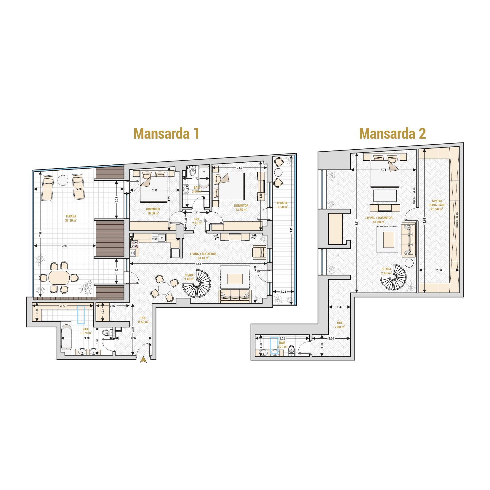 Duplex cu 4 camere Bucuresti - Catedral Residence - Marriott, Piata Unirii, 13 Septembrie, Izvor - Suprafata utila totala - 211.00 mp