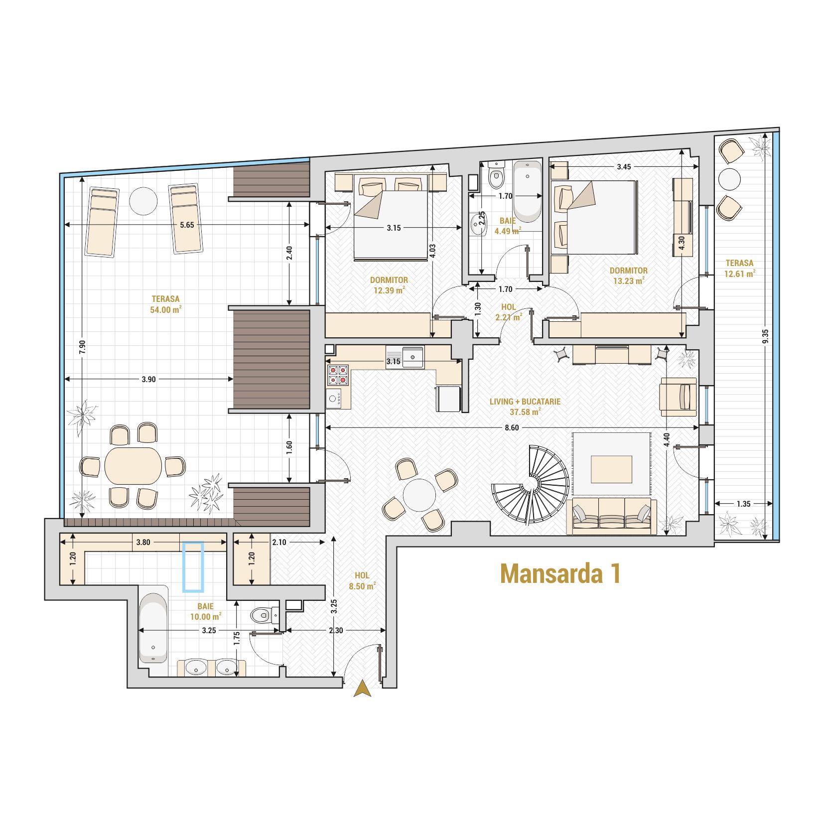 Duplex 4 camere de vanzare Bucuresti - Catedral Residence - Marriott, Piata Unirii, 13 Septembrie, Izvor - Tip 2 - T2 - A