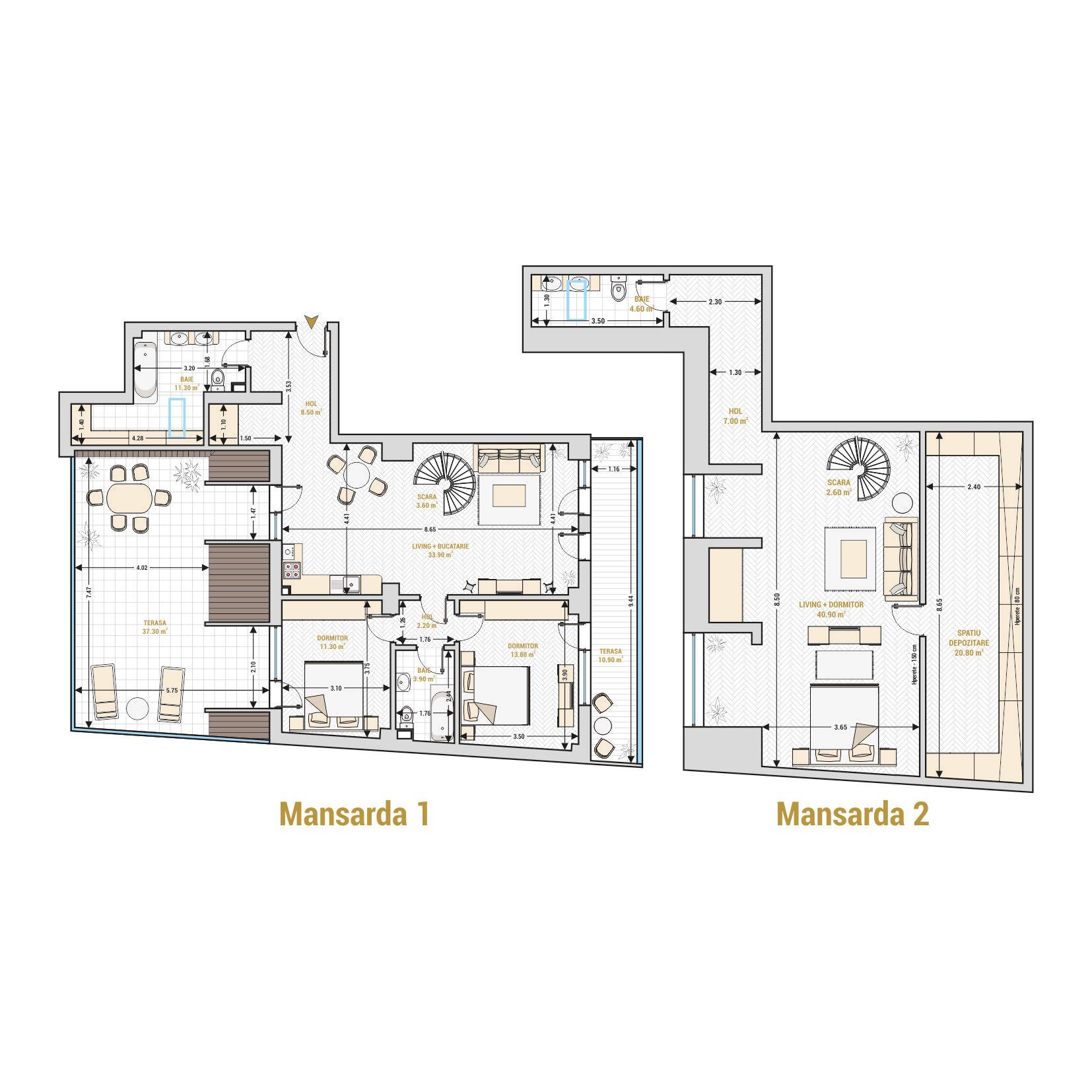 Duplexuri cu 4 camere Bucuresti - Catedral Residence - Marriott, Piata Unirii, 13 Septembrie, Izvor - Suprafata utila - 212.60 metri patrati
