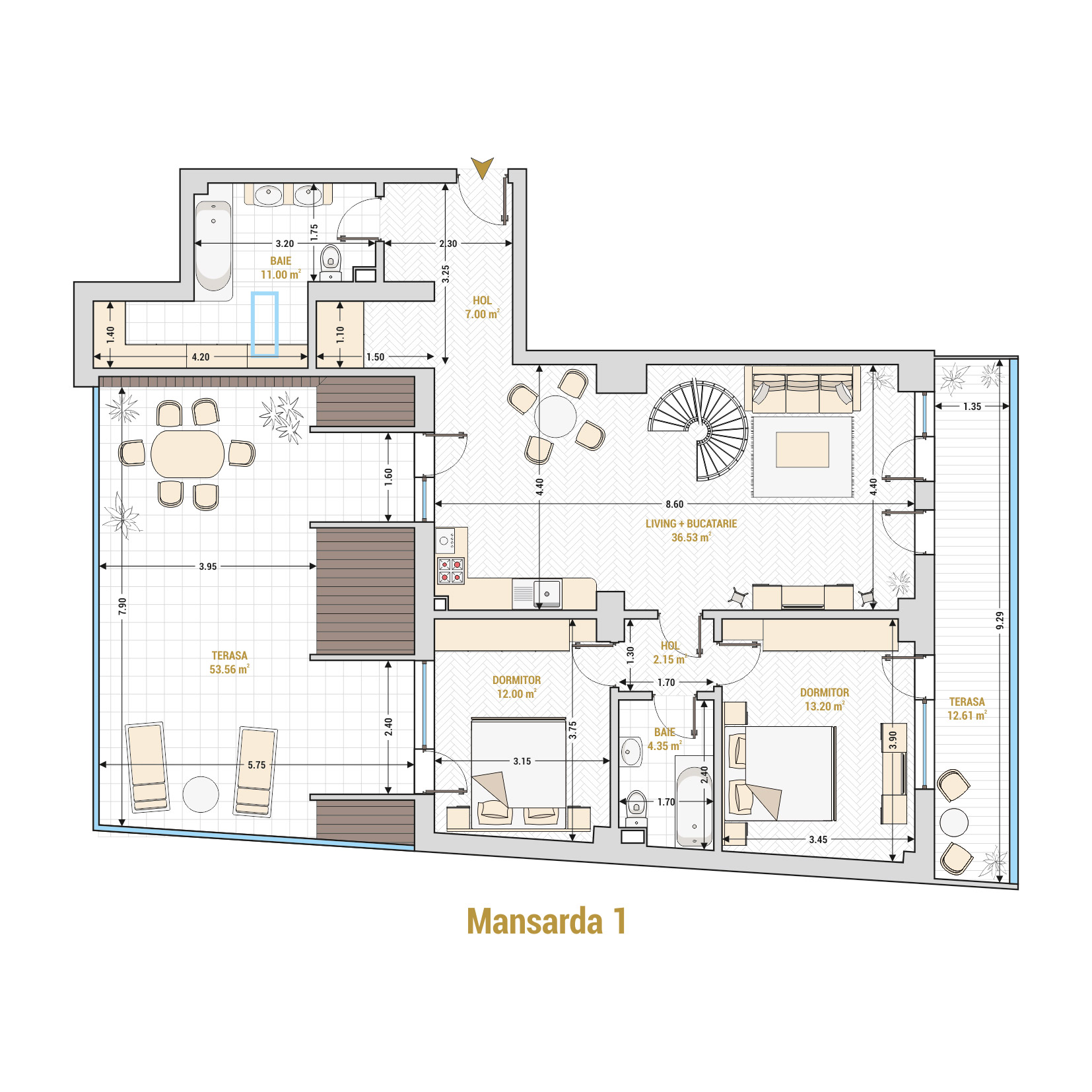 Duplex 5 camere de vanzare Bucuresti - Catedral Residence - Marriott, Piata Unirii, 13 Septembrie, Izvor - Tip 1 - T2A - A