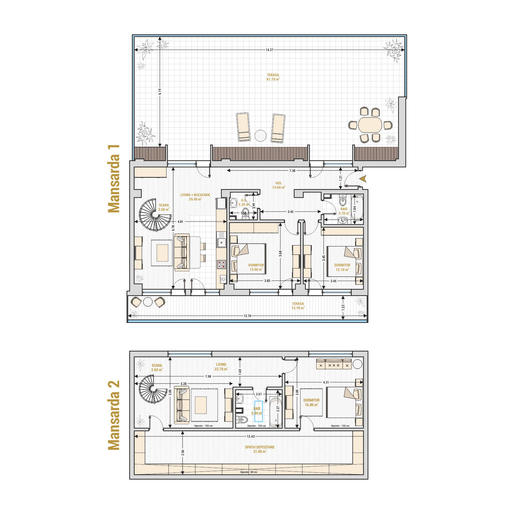 Duplex cu 5 camere Bucuresti - Catedral Residence - Marriott, Piata Unirii, 13 Septembrie, Izvor - Suprafata utila totala - 265.70 mp