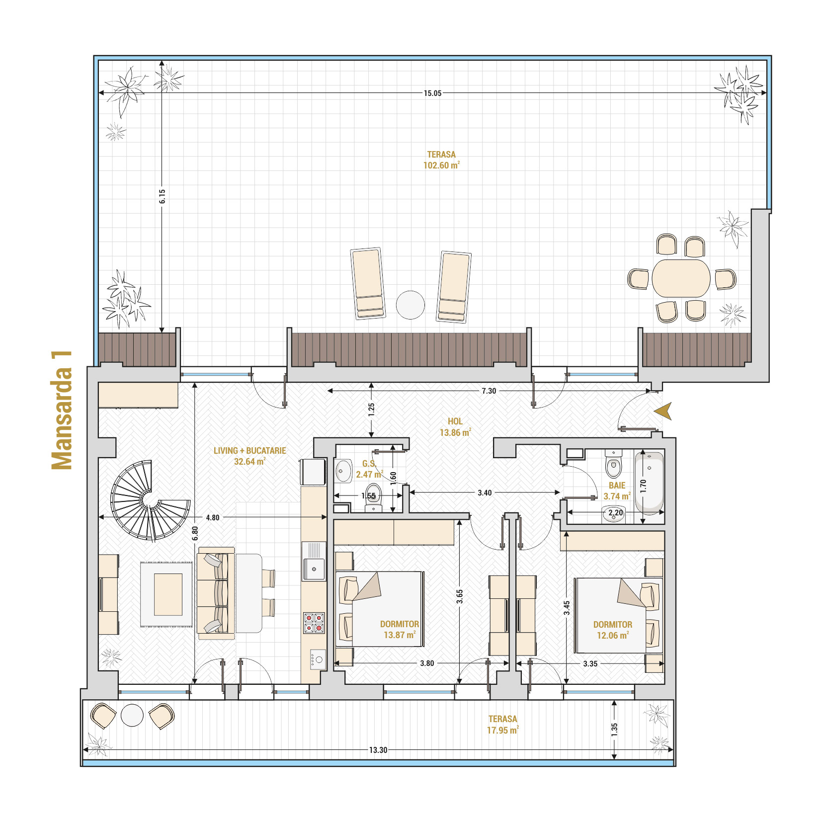 Duplex 5 camere de vanzare Bucuresti - Catedral Residence - Marriott, Piata Unirii, 13 Septembrie, Izvor - T2 - A