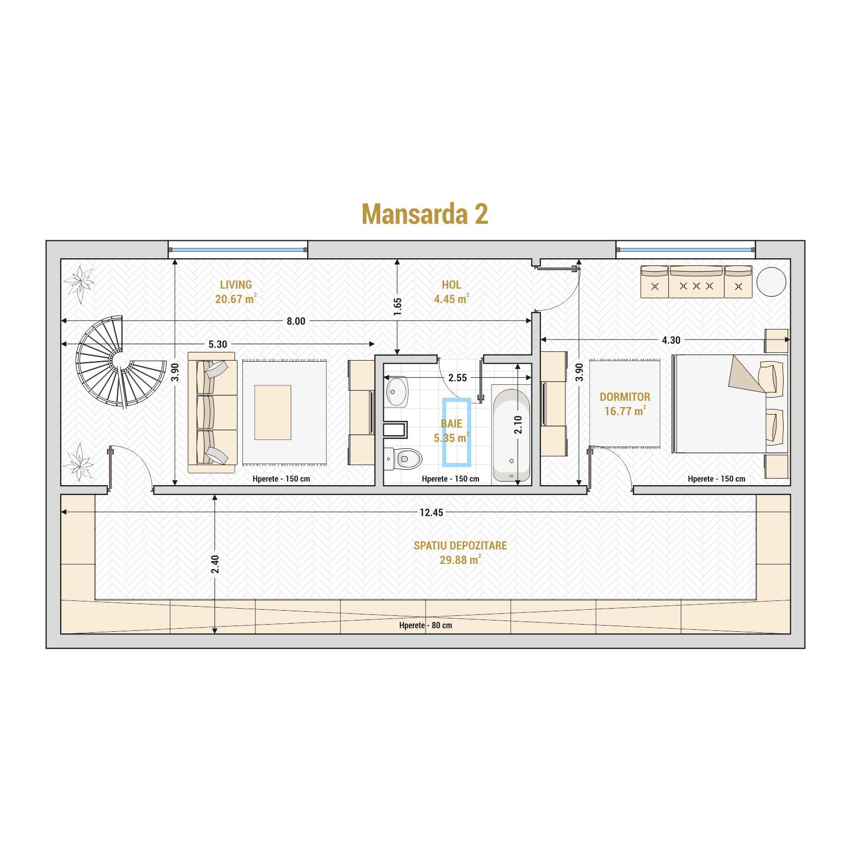 Duplex 5 camere de vanzare Bucuresti - Catedral Residence - Marriott, Piata Unirii, 13 Septembrie, Izvor - T2 - B