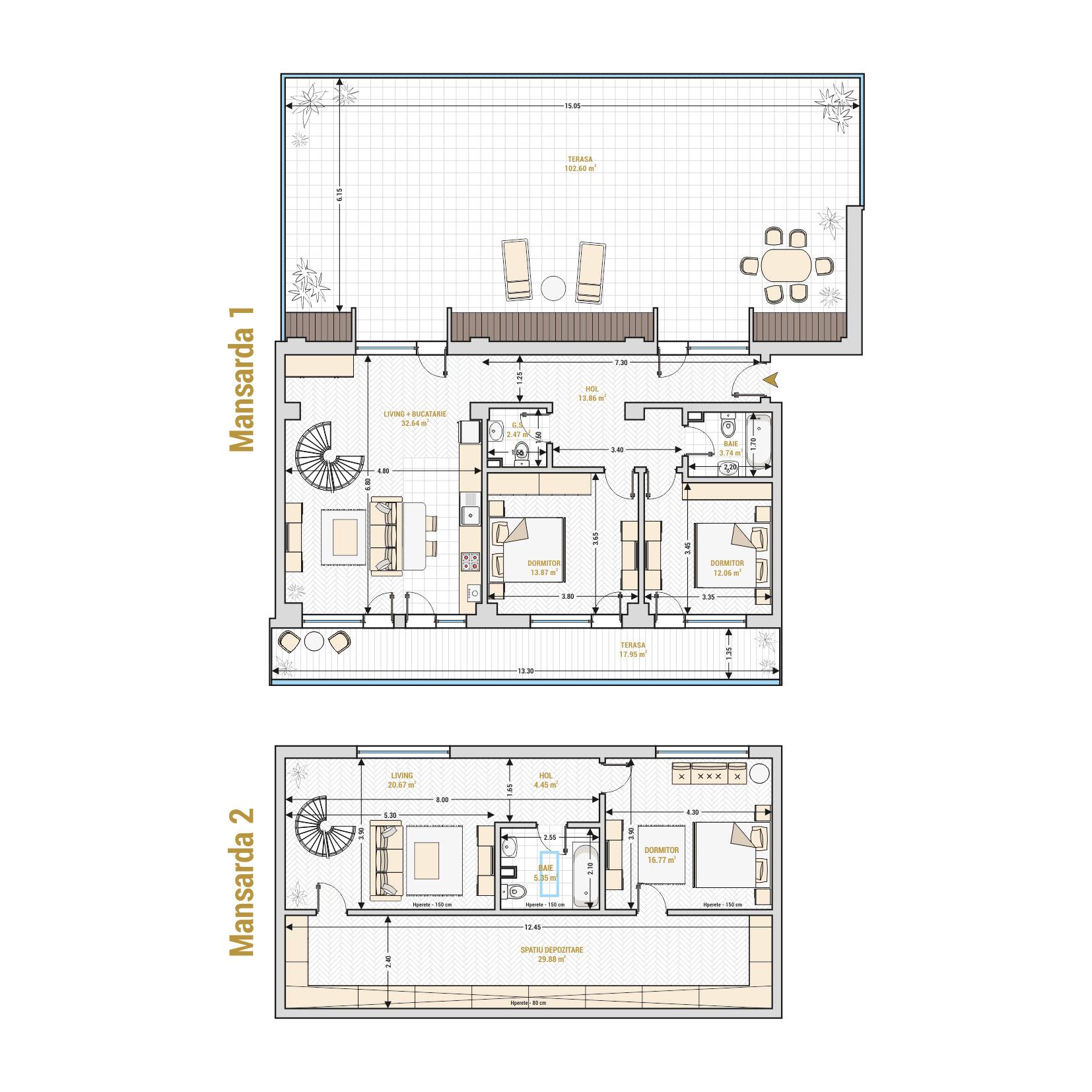 Duplex 5 camere de vanzare Bucuresti - Catedral Residence - Marriott, Piata Unirii, 13 Septembrie, Izvor - T2
