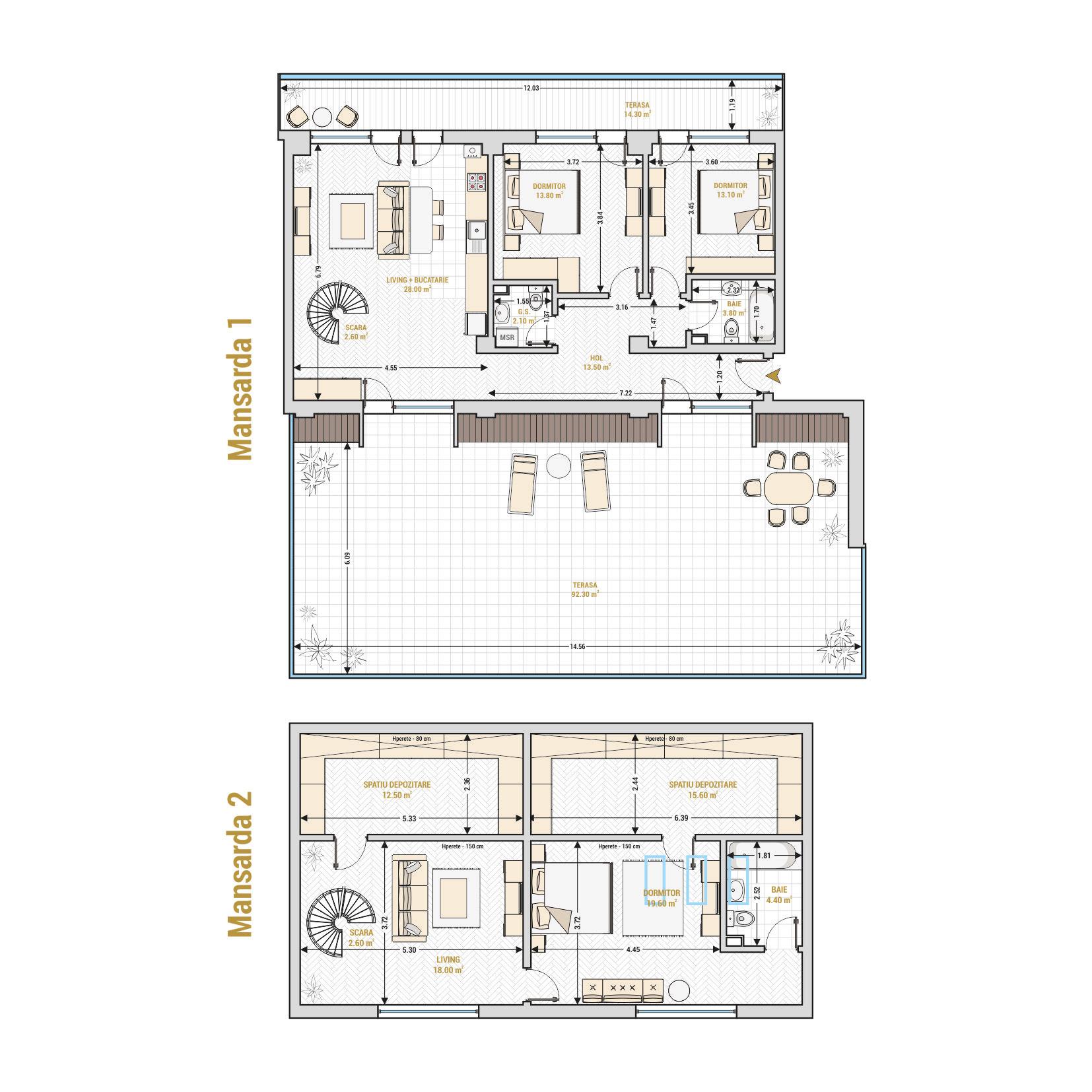 Duplexuri cu 5 camere Bucuresti - Catedral Residence - Marriott, Piata Unirii, 13 Septembrie, Izvor - Suprafata utila - 256.20 metri patrati