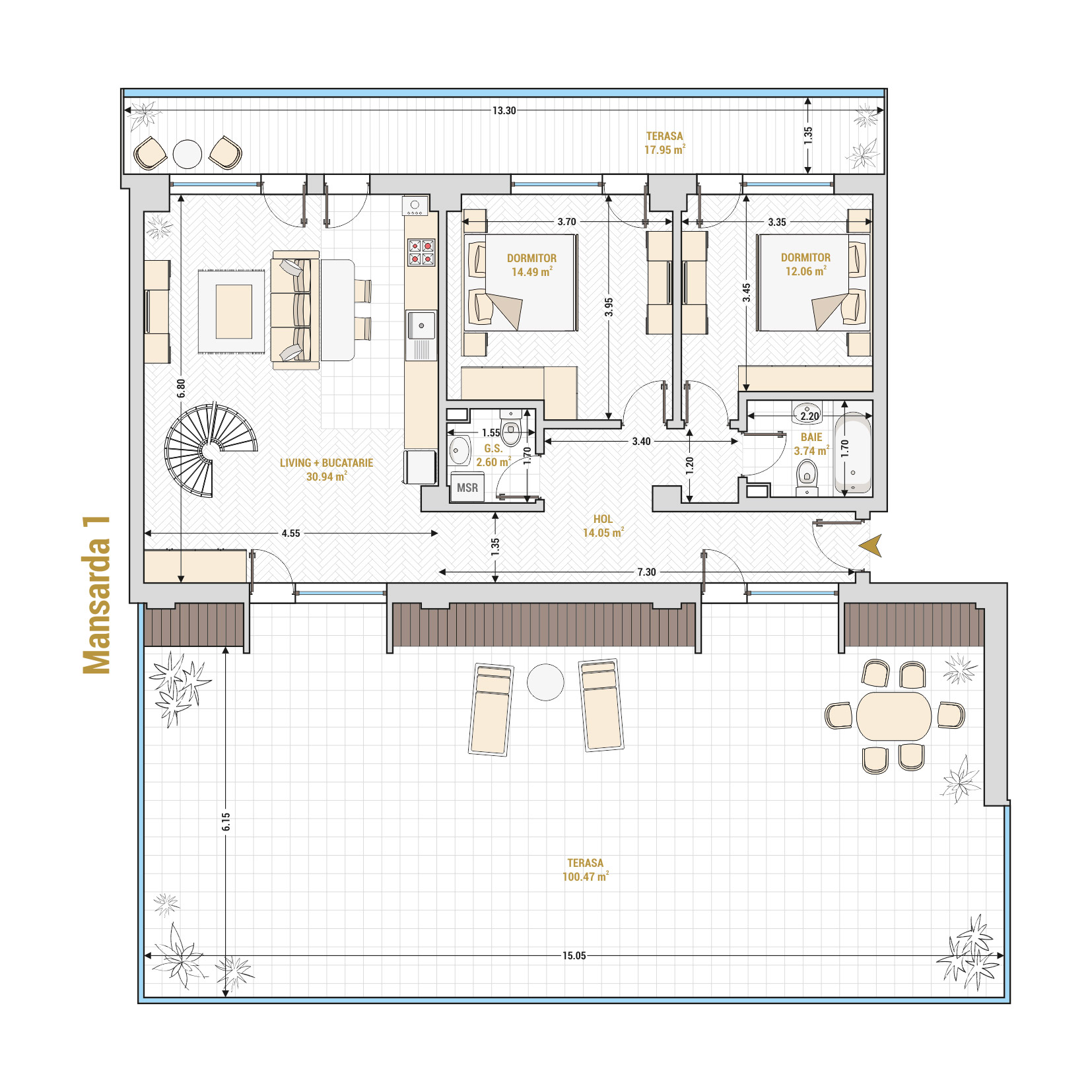 Duplex 5 camere de vanzare Bucuresti - Catedral Residence - Marriott, Piata Unirii, 13 Septembrie, Izvor - Tip 2 - T2A - A