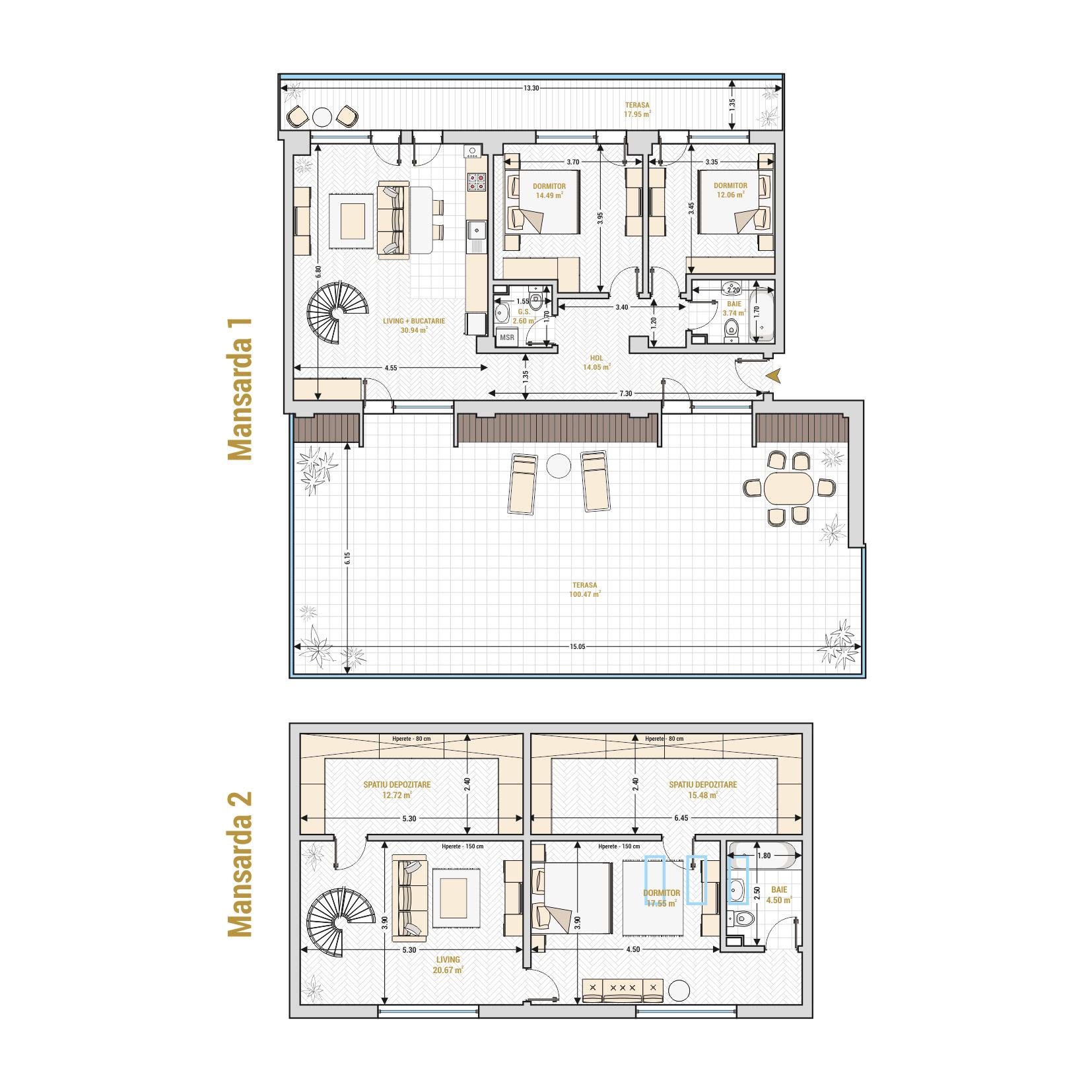 Duplex 5 camere de vanzare Bucuresti - Catedral Residence - Marriott, Piata Unirii, 13 Septembrie, Izvor - Tip 2 - T2A