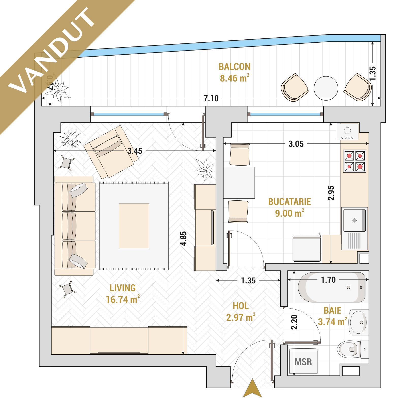 Garsoniere de vanzare Bucuresti - Catedral Residence - Marriott, Piata Unirii, 13 Septembrie, Izvor - Tip 2 - T1 - V
