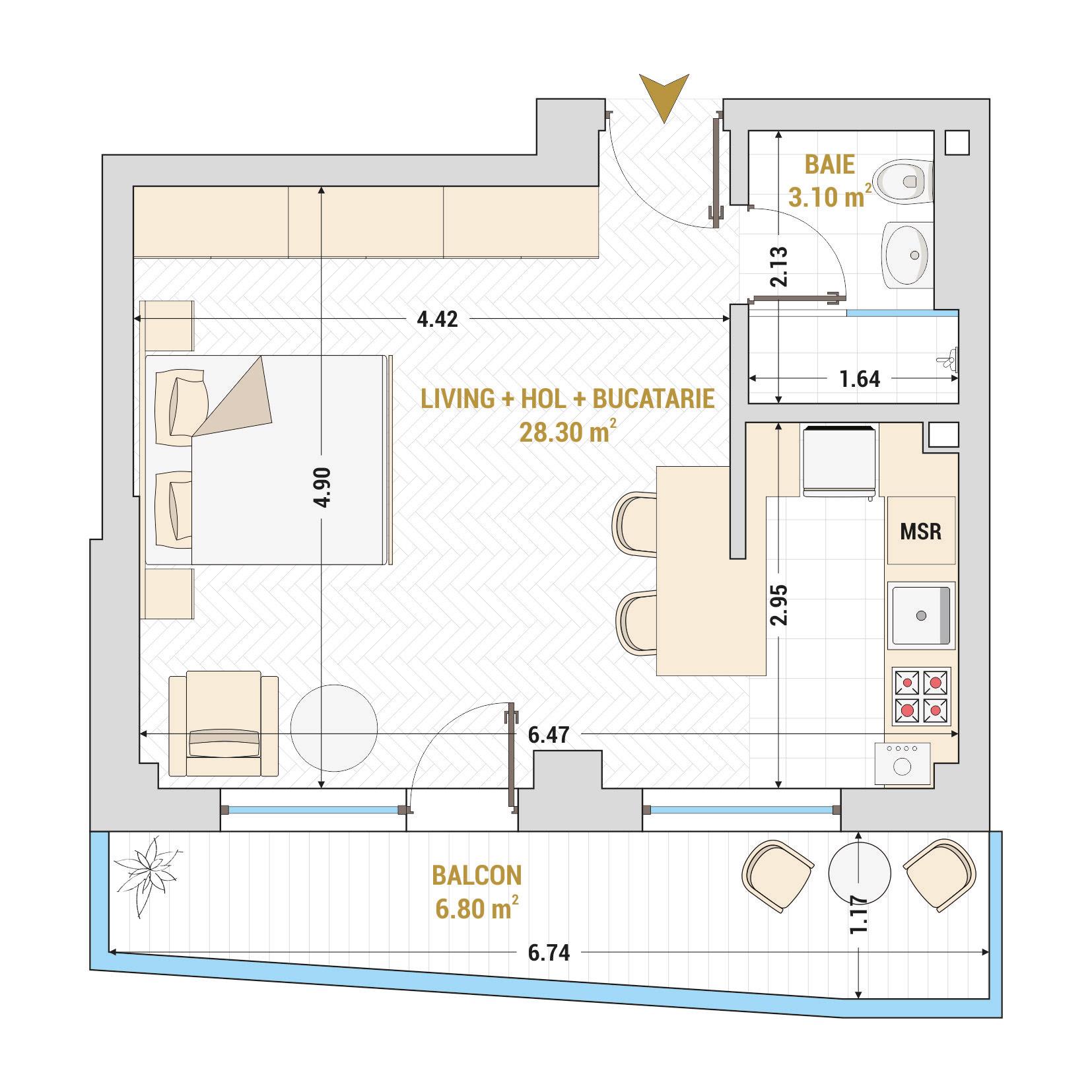Garsoniere de vanzare Bucuresti - Catedral Residence - Marriott, Piata Unirii, 13 Septembrie, Izvor - Tip 2 - T1A