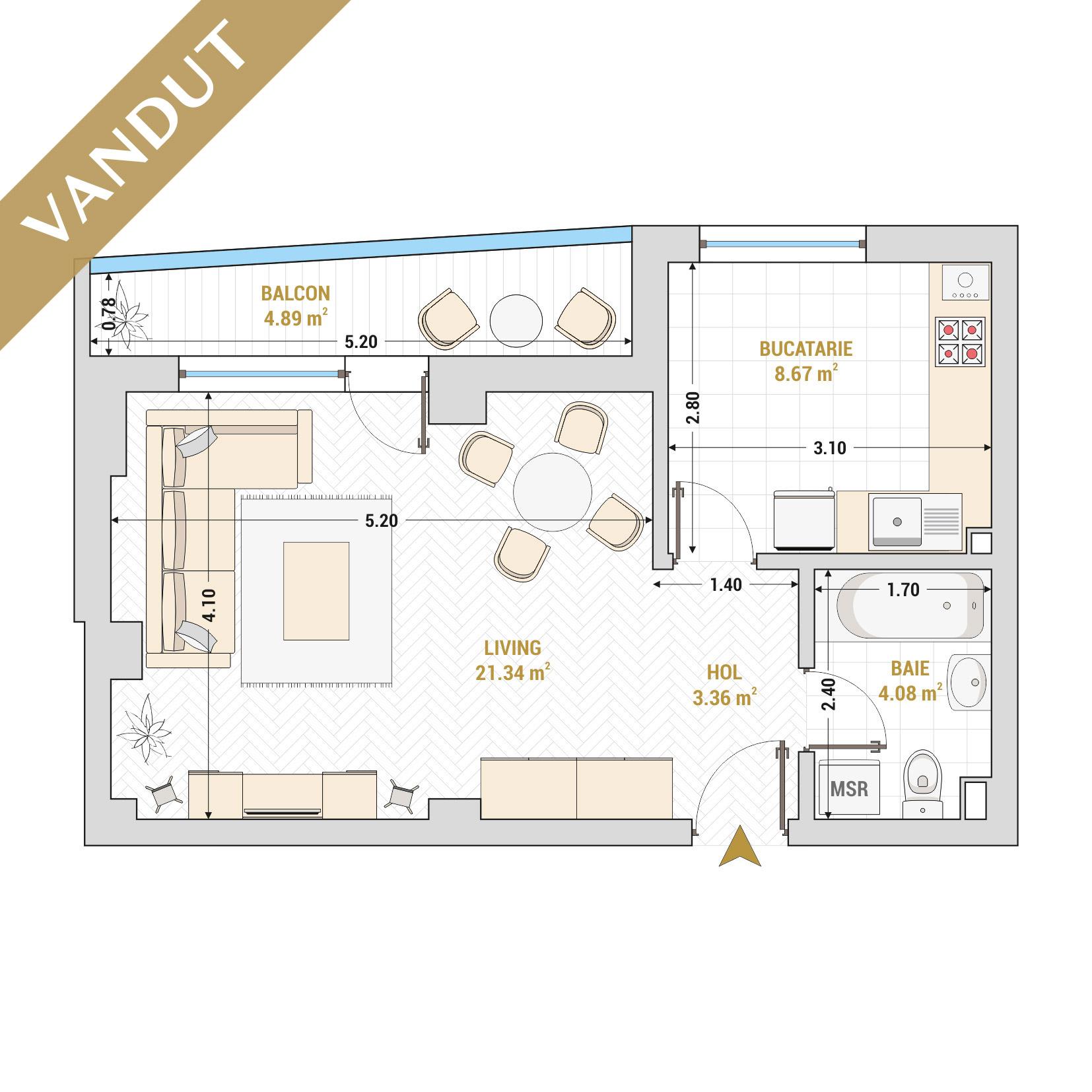 Garsoniere de vanzare Bucuresti - Catedral Residence - Marriott, Piata Unirii, 13 Septembrie, Izvor - Tip 3 - T1 - V