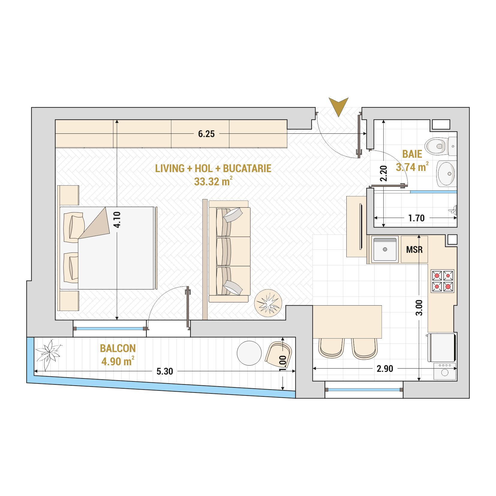 Garsoniere de vanzare Bucuresti - Catedral Residence - Marriott, Piata Unirii, 13 Septembrie, Izvor - Tip 3 - T1A