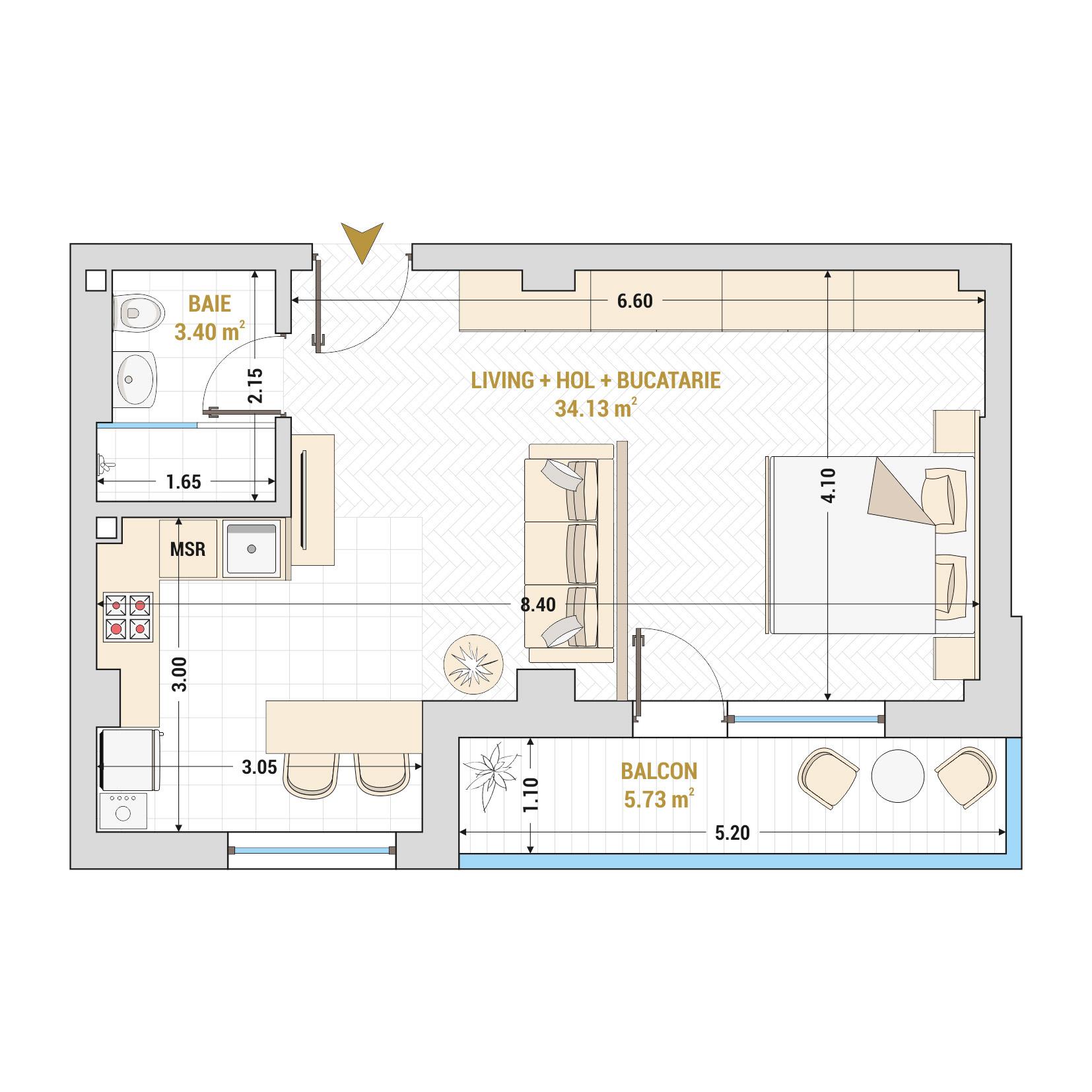 Garsoniere de vanzare Bucuresti - Catedral Residence - Marriott, Piata Unirii, 13 Septembrie, Izvor - Tip 4 - T1A