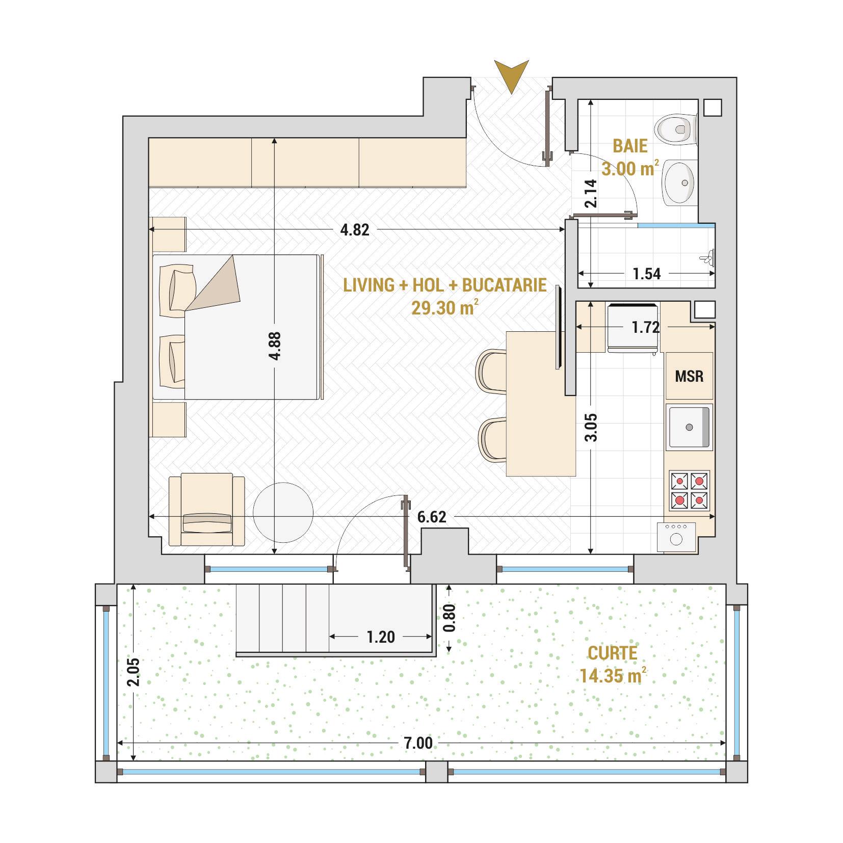 Garsoniere de vanzare Bucuresti - Catedral Residence - Marriott, Piata Unirii, 13 Septembrie, Izvor - Tip 5 - T1A
