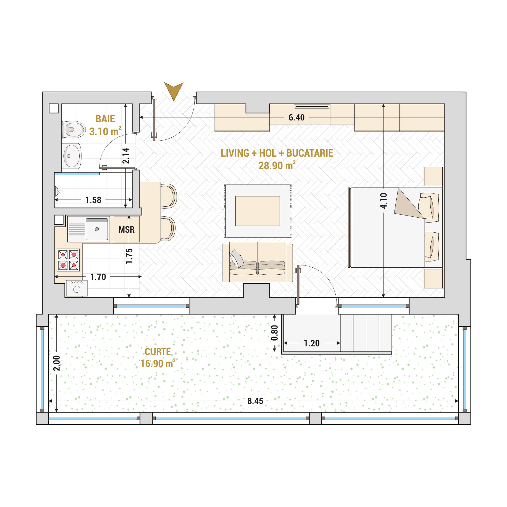 Garsoniere de vanzare Bucuresti - Catedral Residence - Marriott, Piata Unirii, 13 Septembrie, Izvor - Tip 6 - T1A