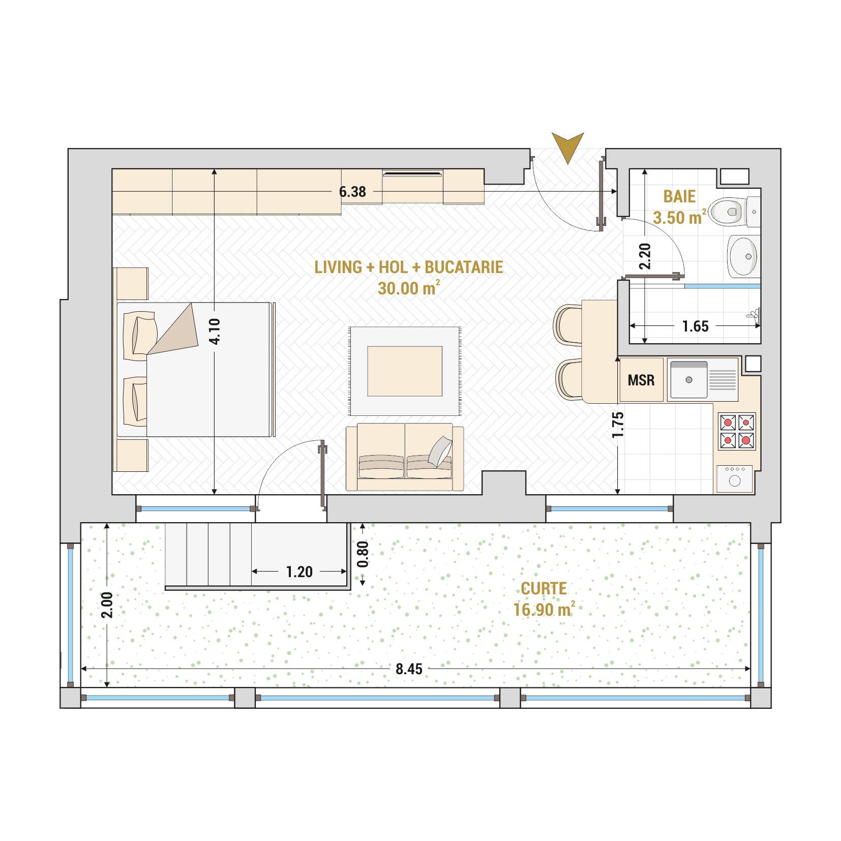 Garsoniere de vanzare Bucuresti - Catedral Residence - Marriott, Piata Unirii, 13 Septembrie, Izvor - Tip 8 - T1A