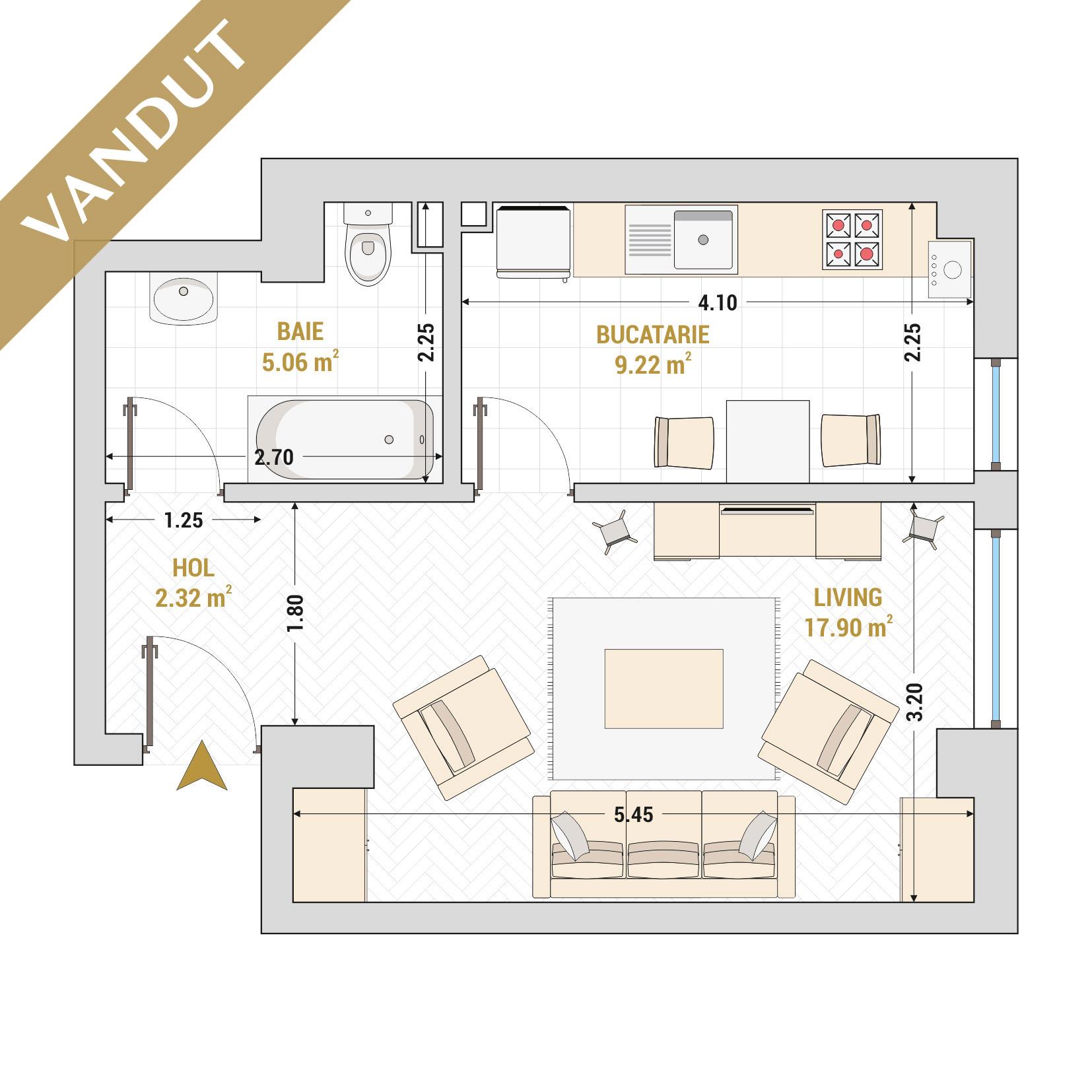 Garsoniere de vanzare Bucuresti - Catedral Residence - Marriott, Piata Unirii, 13 Septembrie, Izvor - Tip 1 - T2 - V